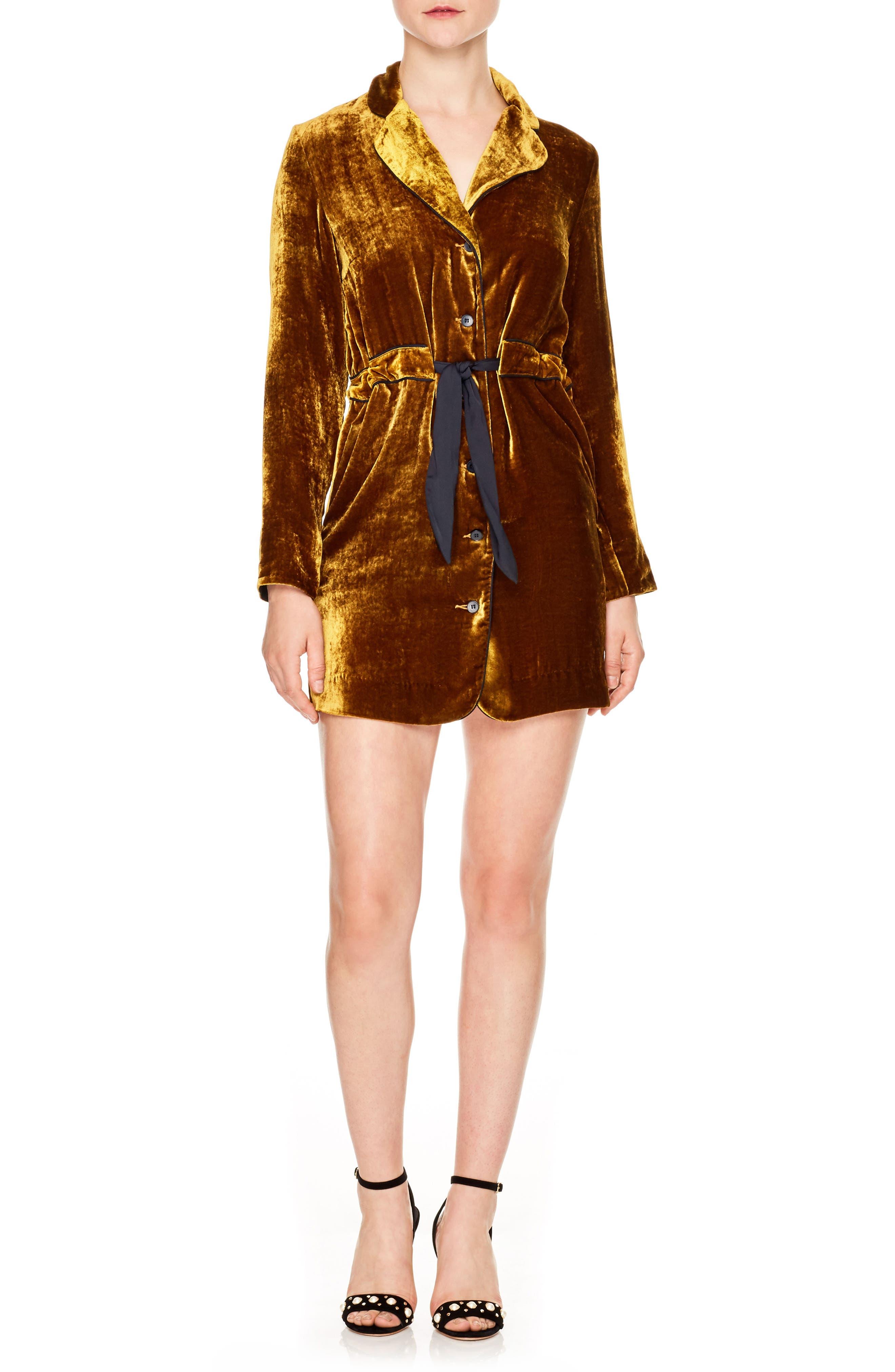 Eline Velvet Minidress,                         Main,                         color, Ocher
