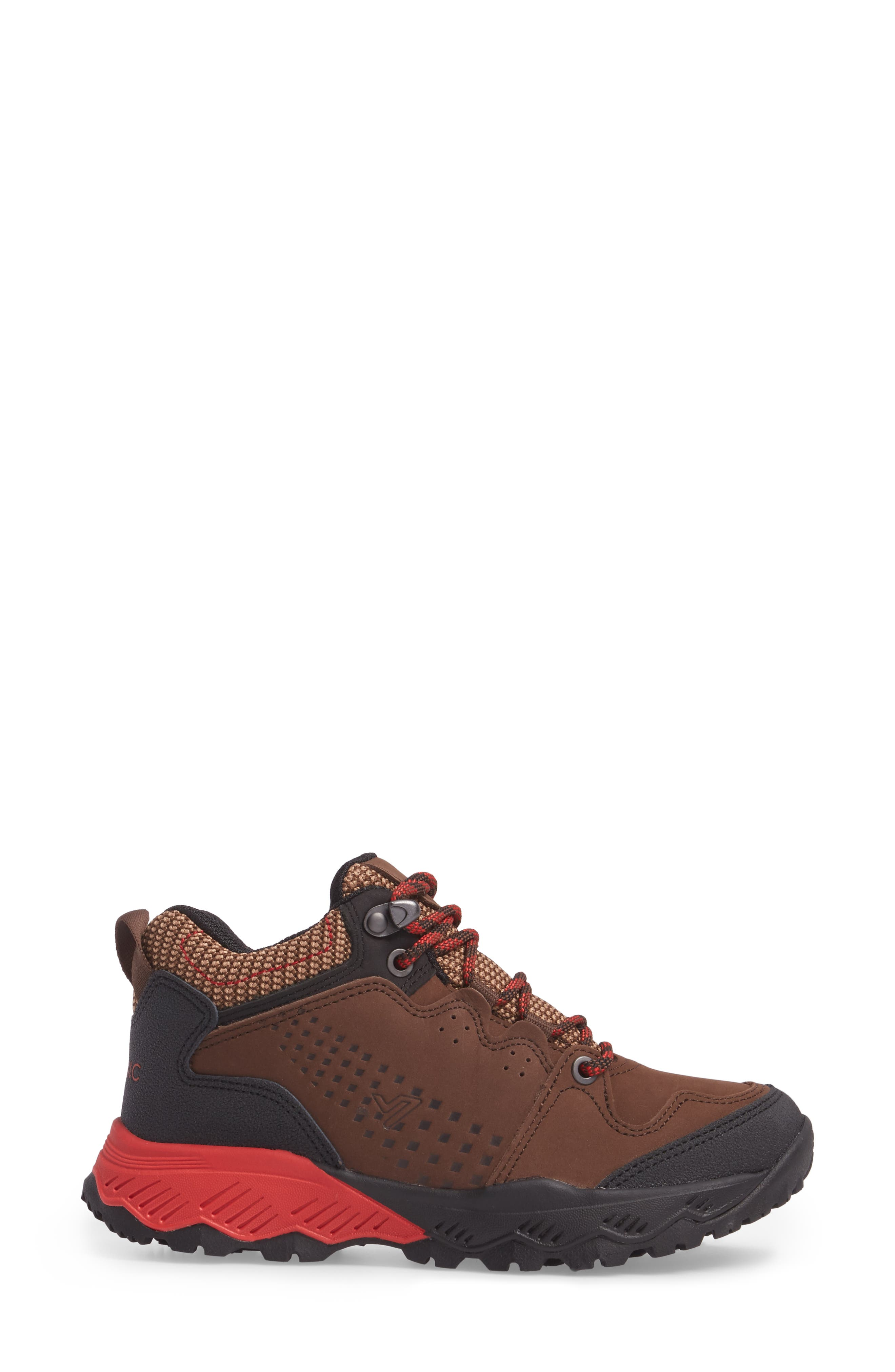 Everett Hiking Shoe,                             Alternate thumbnail 3, color,                             Brown / Red Leather