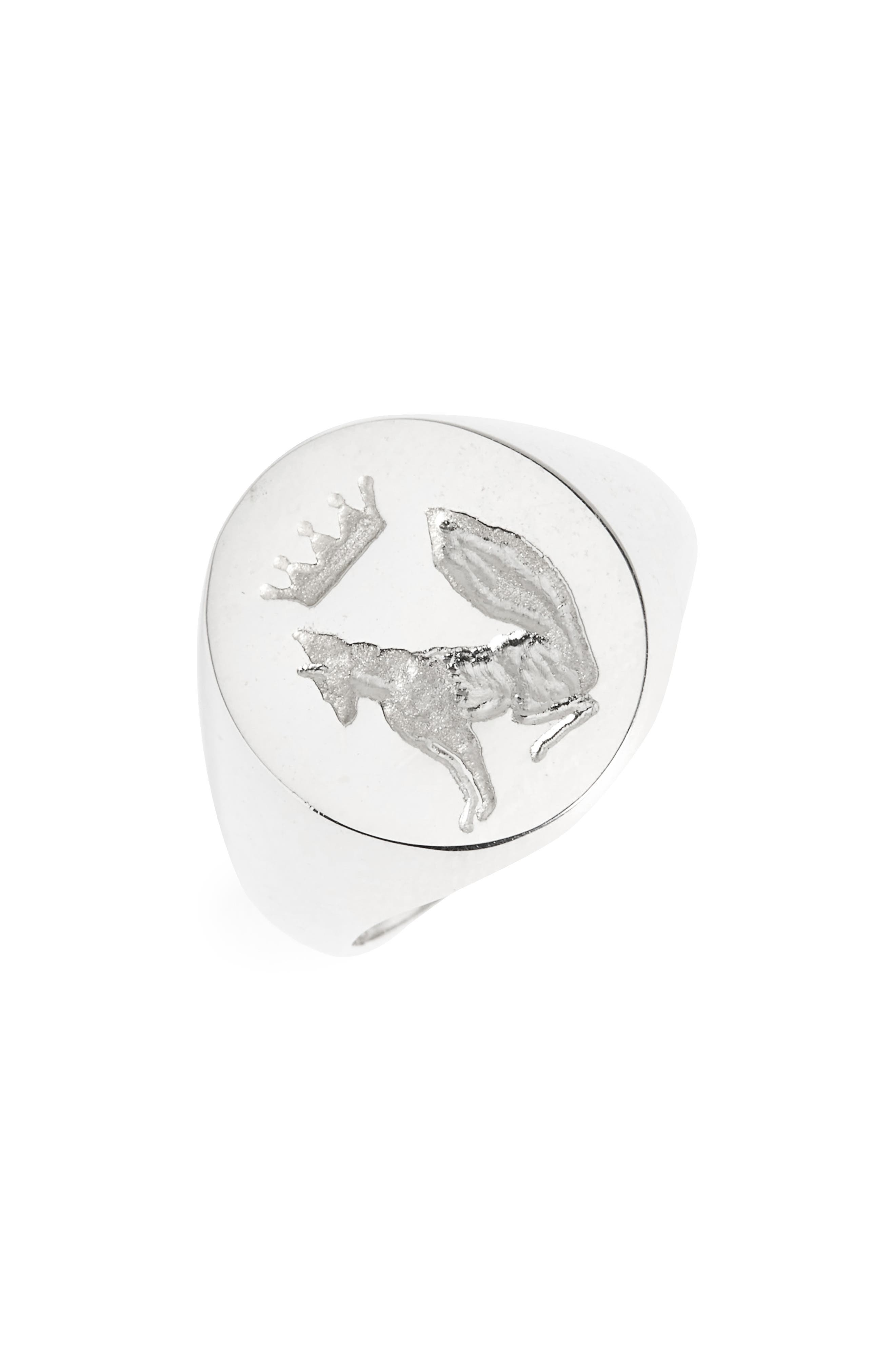 x Stone Fox Signet Ring,                         Main,                         color, Sterling Silver