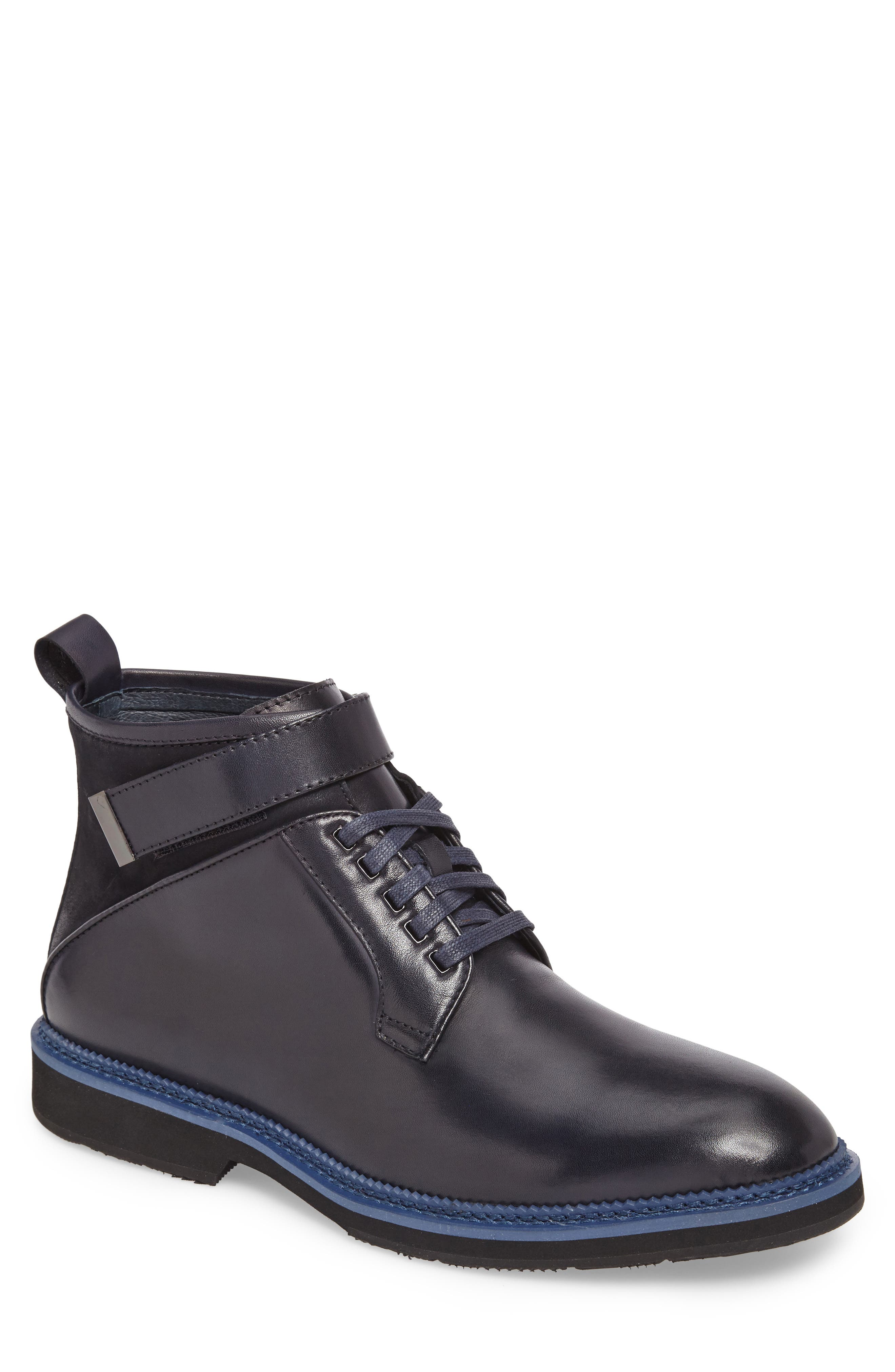 Ginko Plain Toe Boot,                             Main thumbnail 1, color,                             Navy Leather