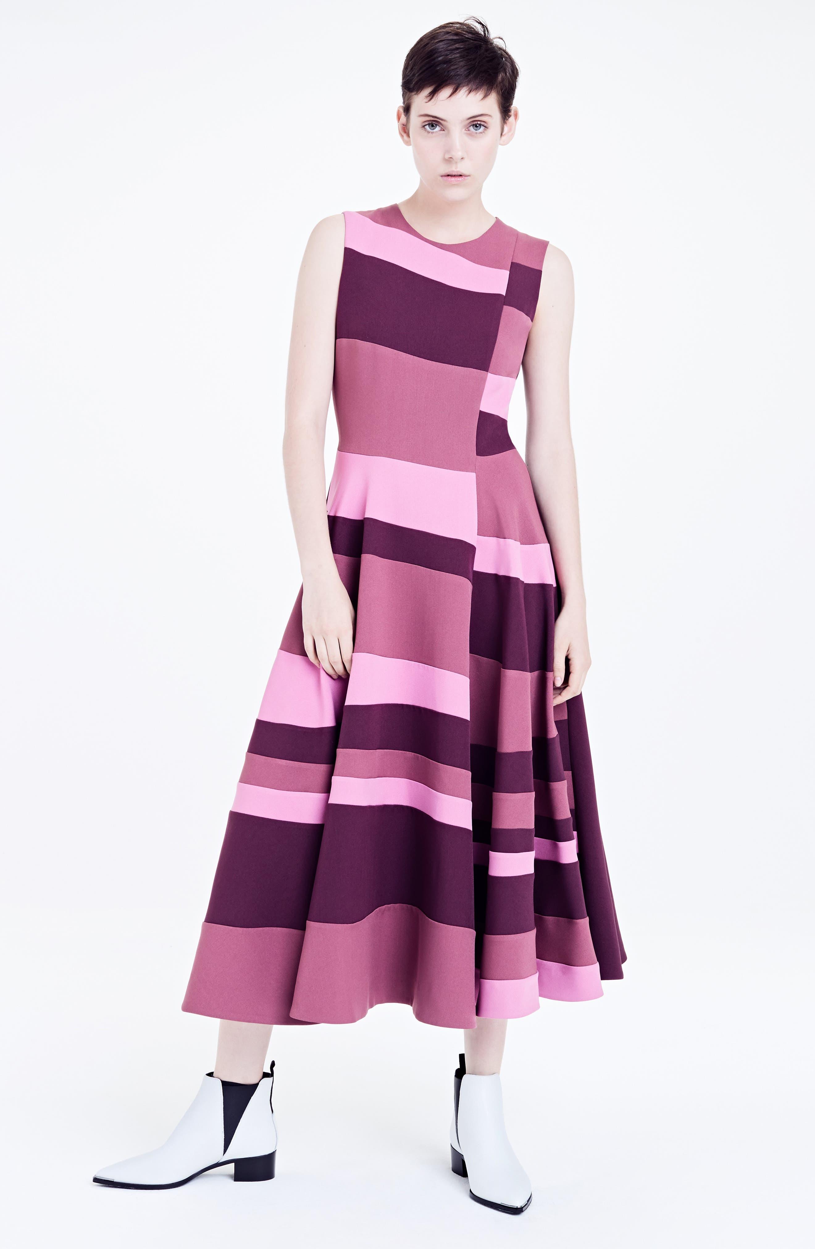 Tatum Stripe Paneled Fit & Flare Dress,                             Alternate thumbnail 8, color,                             Plum/ Blossom/ Mink