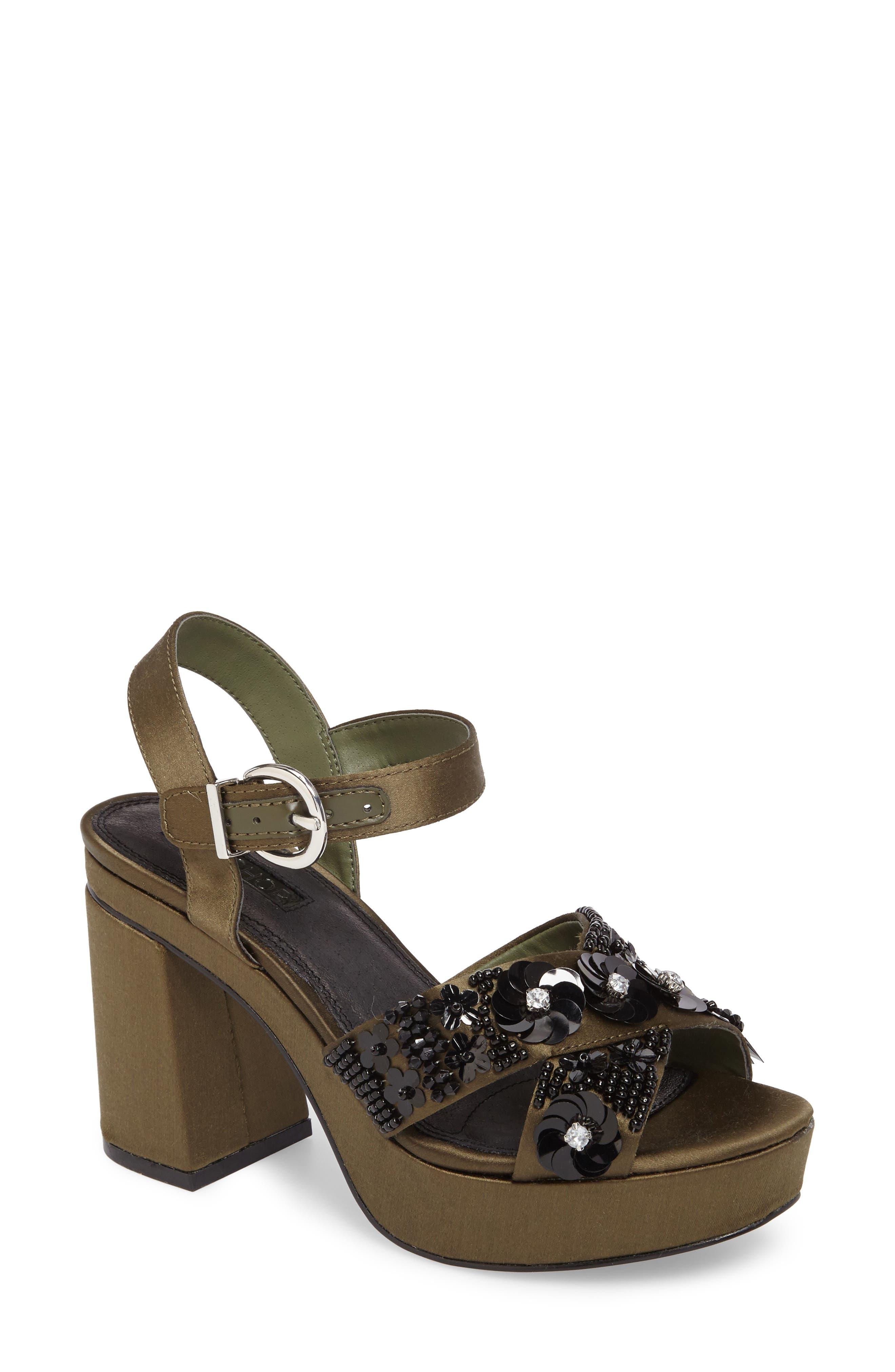 Lotus Embellished Platform Sandal,                         Main,                         color, Olive Multi