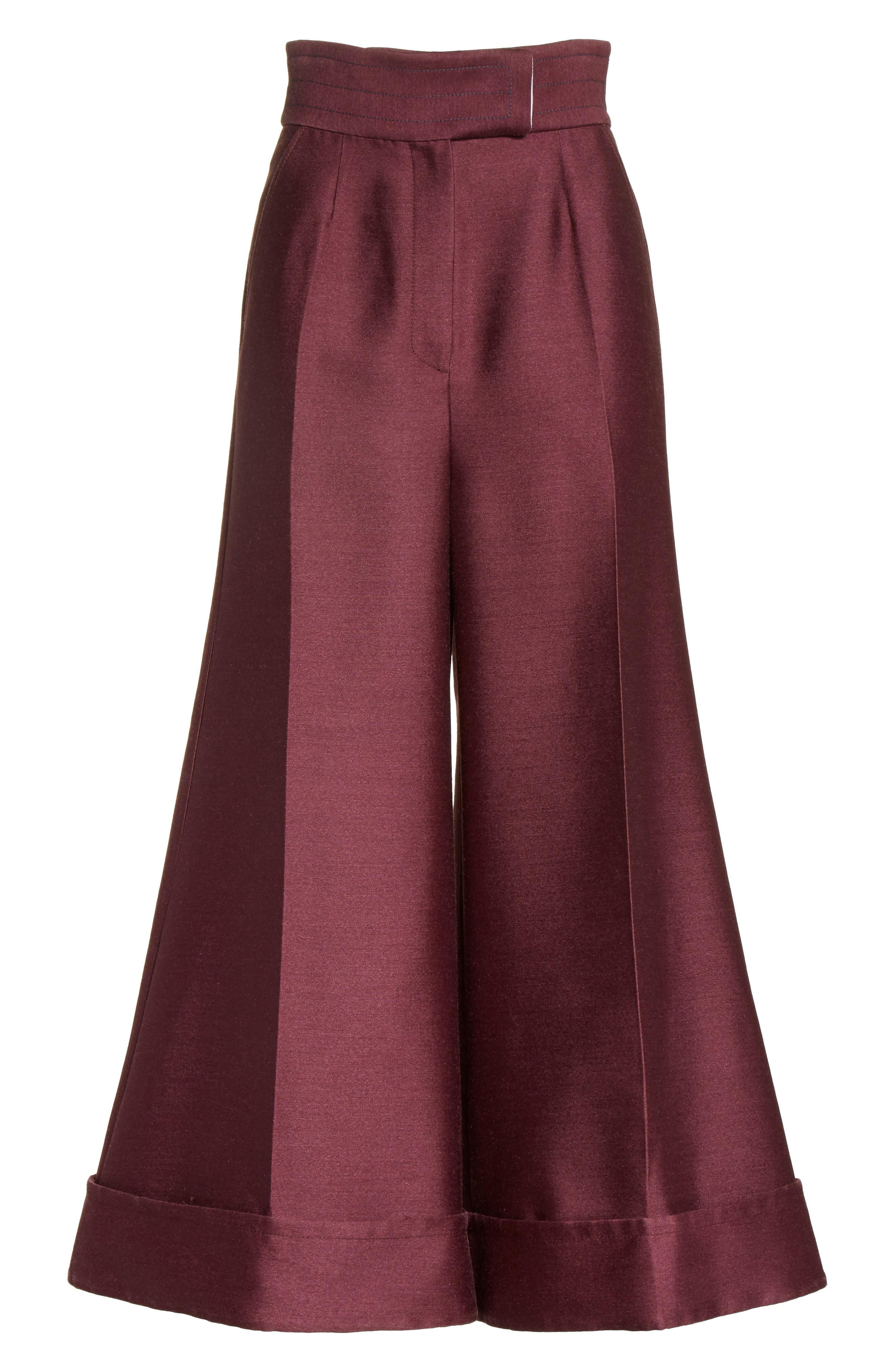 Sina Wide Leg Trousers,                             Alternate thumbnail 9, color,                             Plum