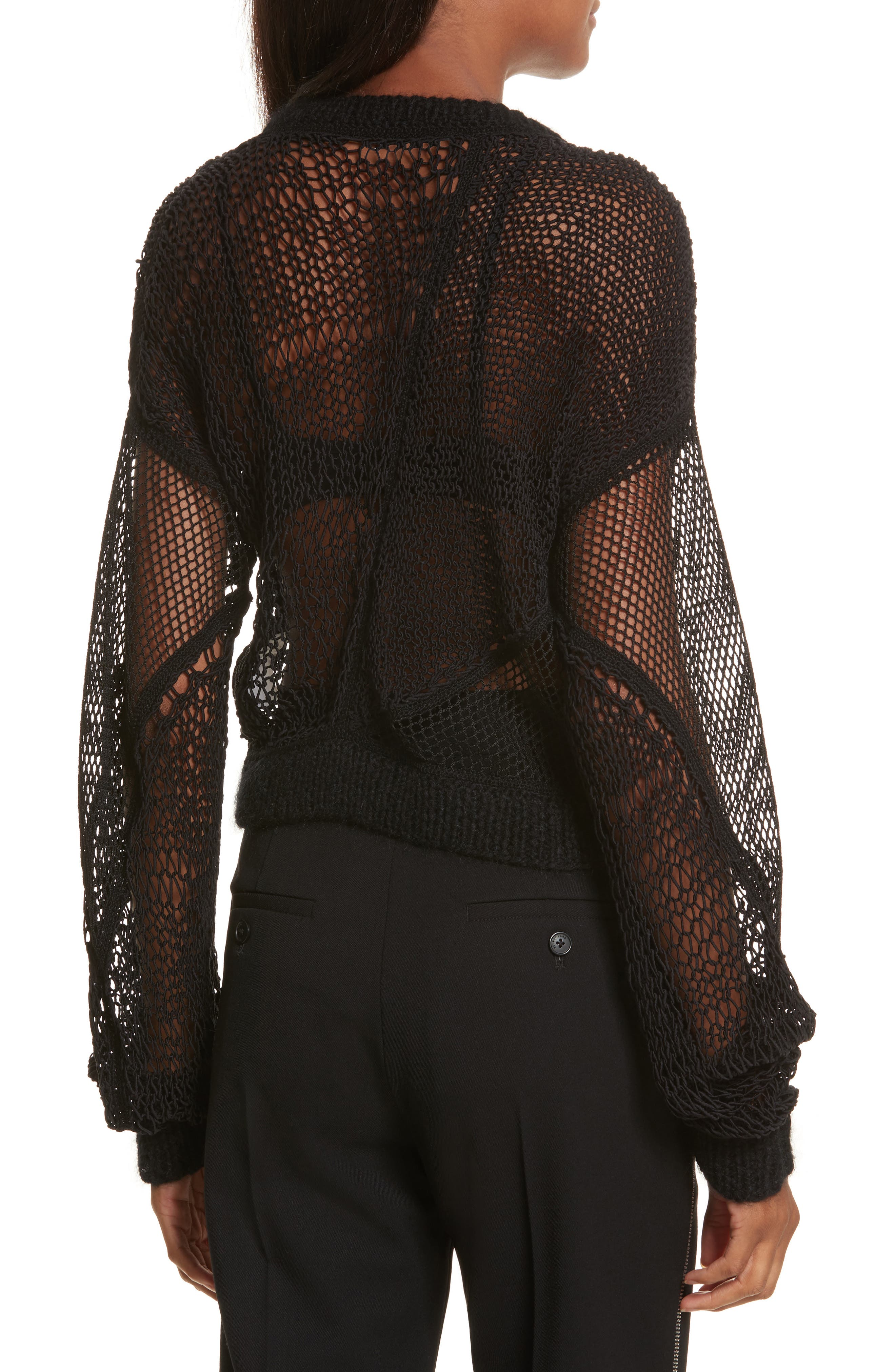 Siouxie Crew Fishnet Patchwork Sweater,                             Alternate thumbnail 2, color,                             Black
