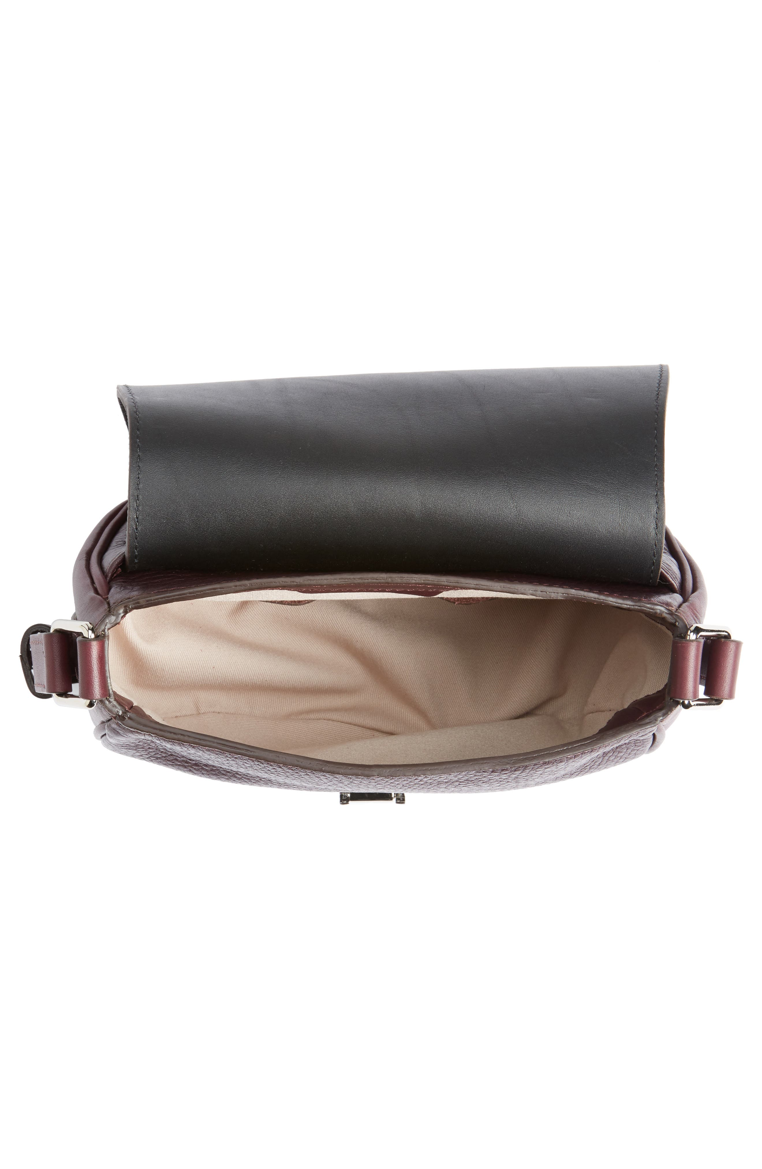 Calfskin Leather Shoulder Bag,                             Alternate thumbnail 4, color,                             Aubergine