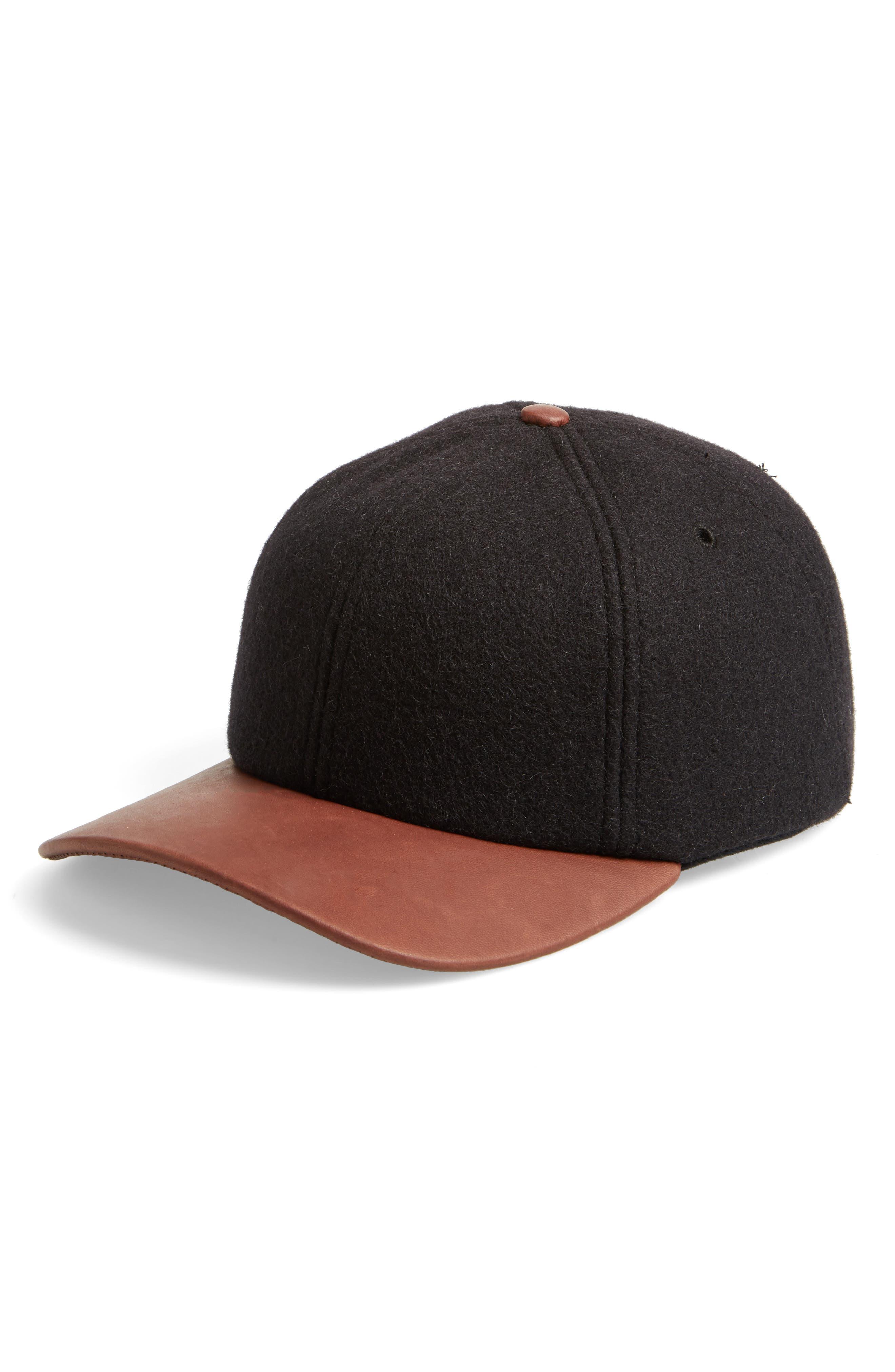 Melton Wool Blend Baseball Cap,                             Main thumbnail 1, color,                             Black