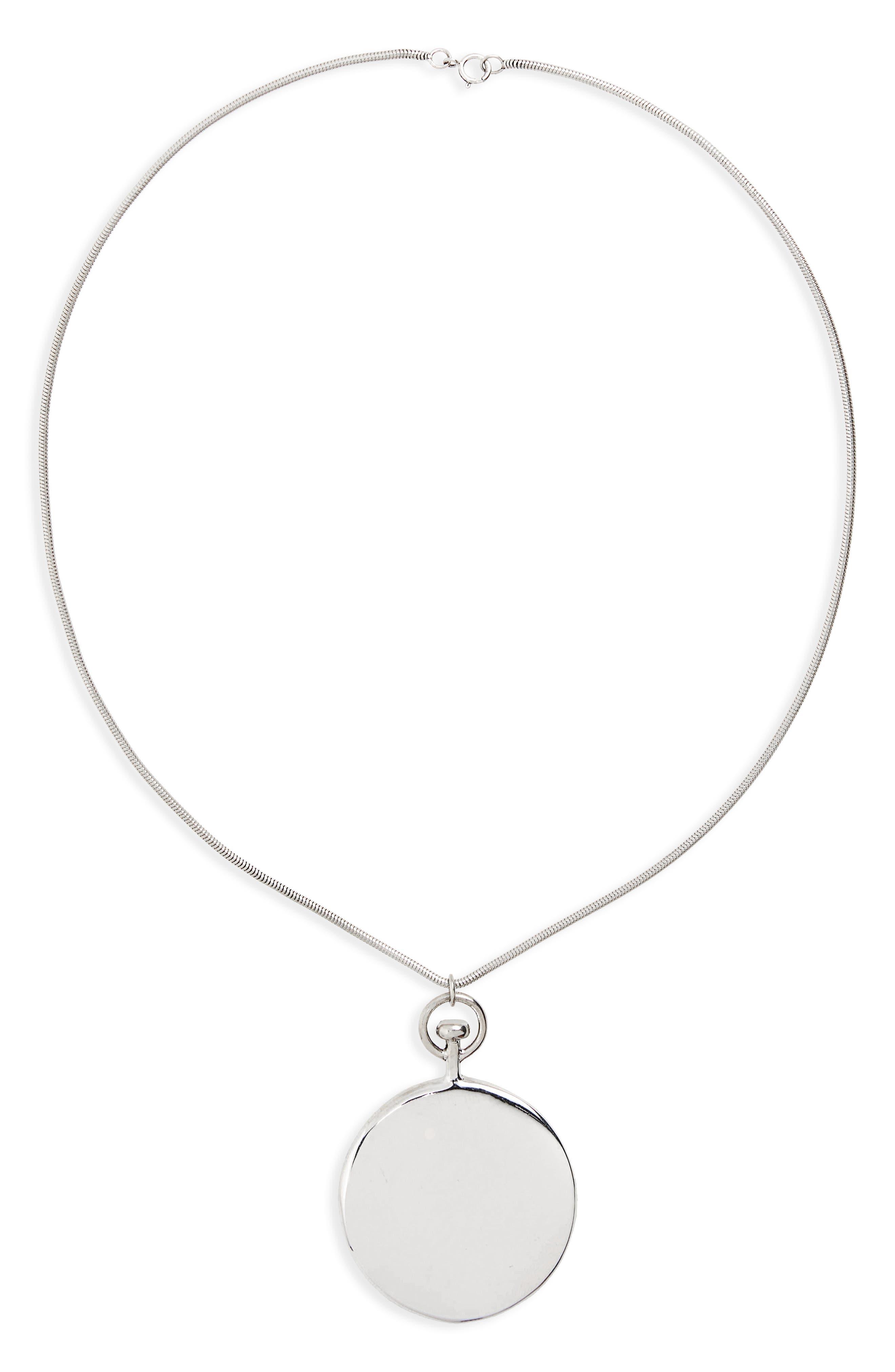 Short Large Circle Pendant Necklace,                         Main,                         color, Silver