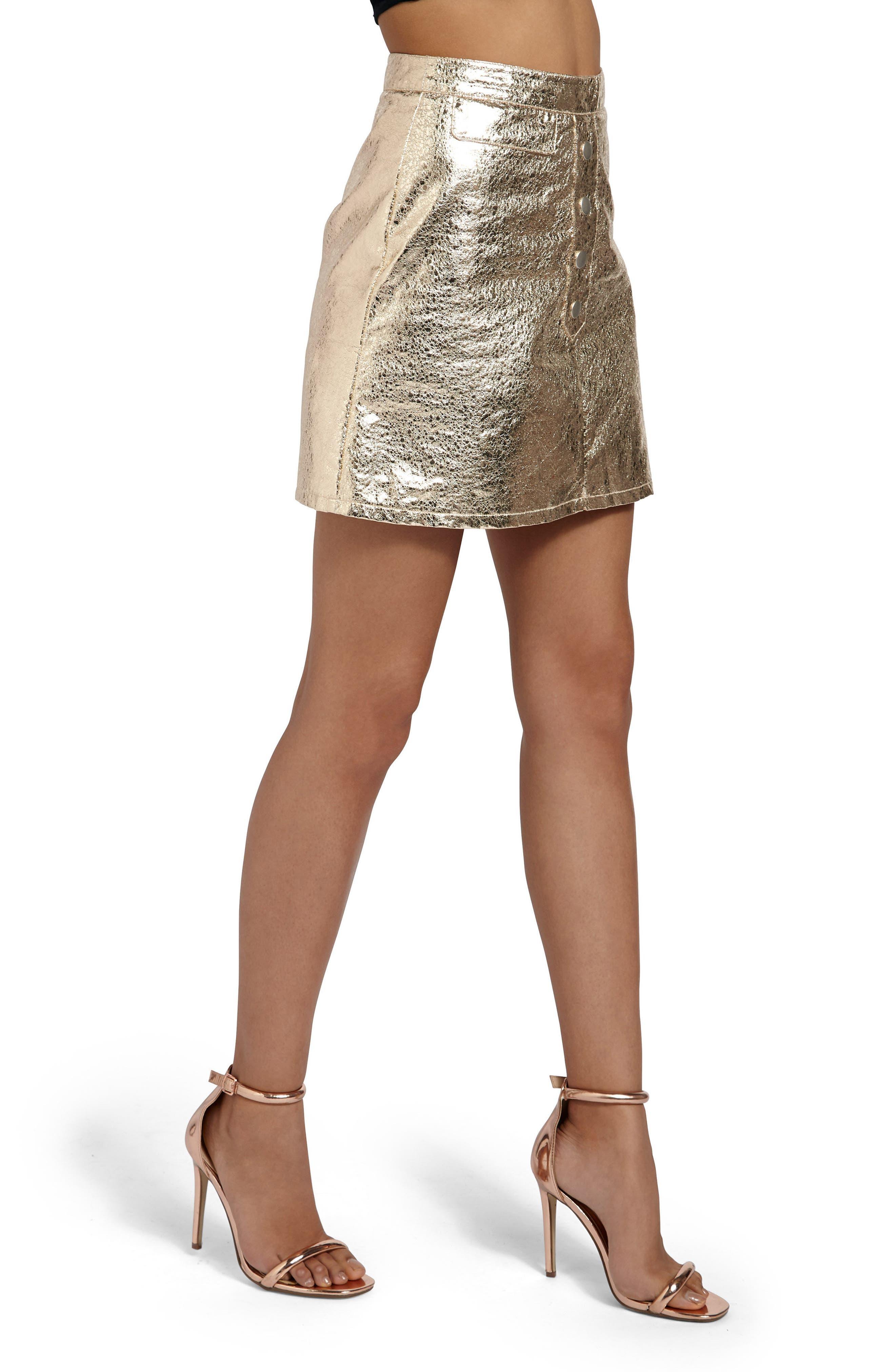 Crackled Metallic Miniskirt,                             Alternate thumbnail 3, color,                             Gold