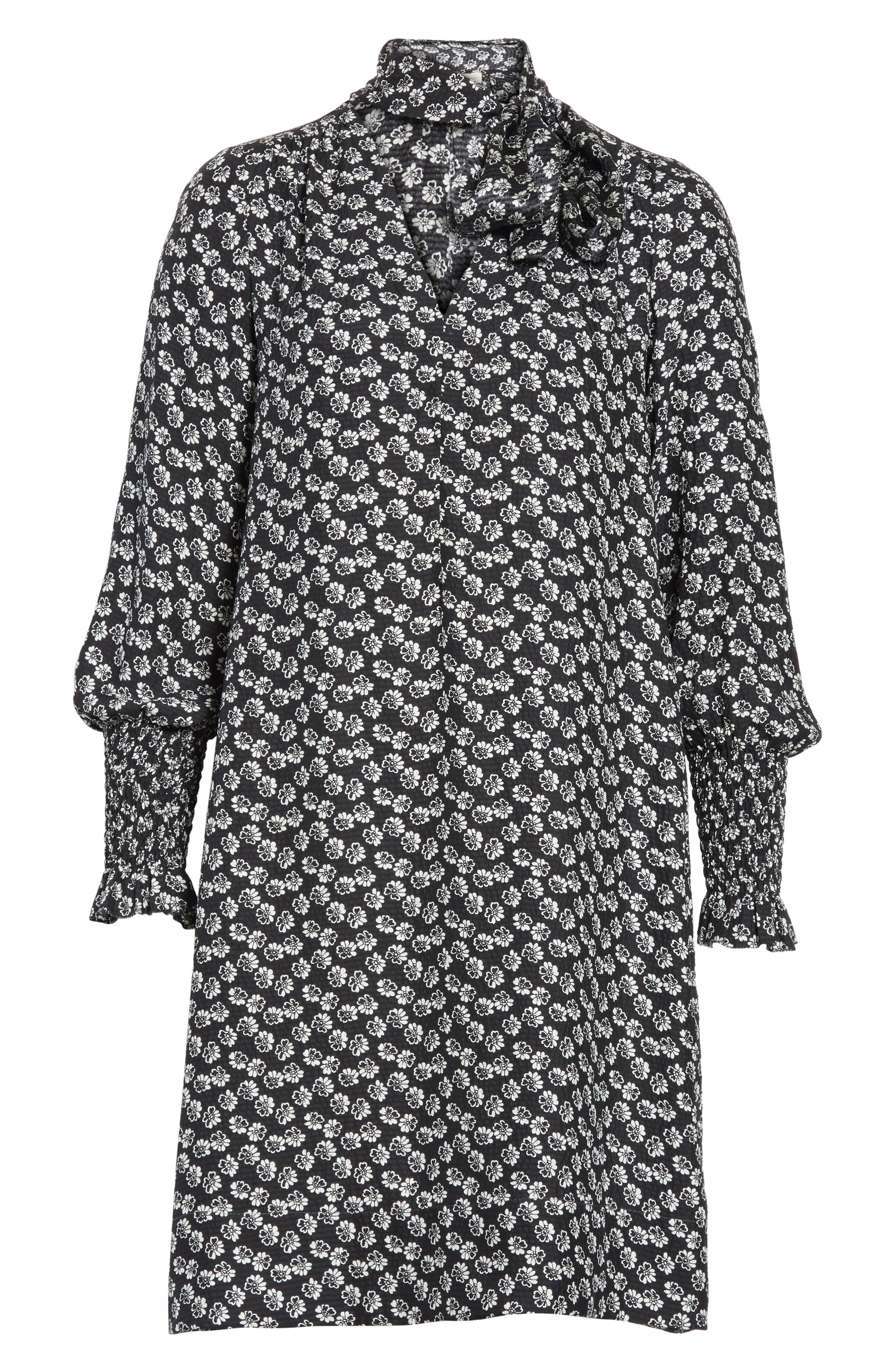 Rue Floral Silk Tie Neck Dress,                             Alternate thumbnail 6, color,                             Black Combo