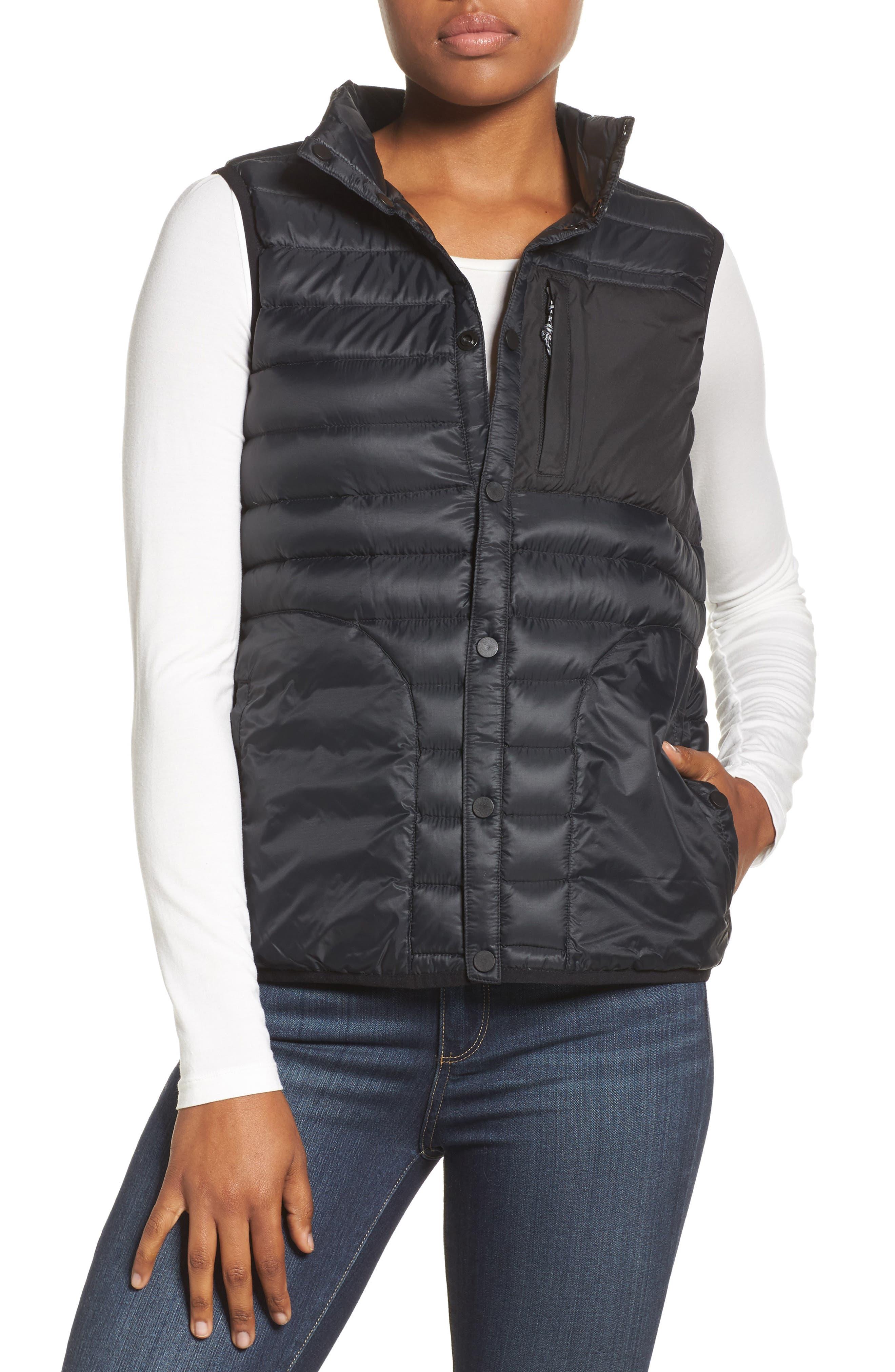 Evergreen Water-Resistant Down Insulator Vest,                         Main,                         color, True Black