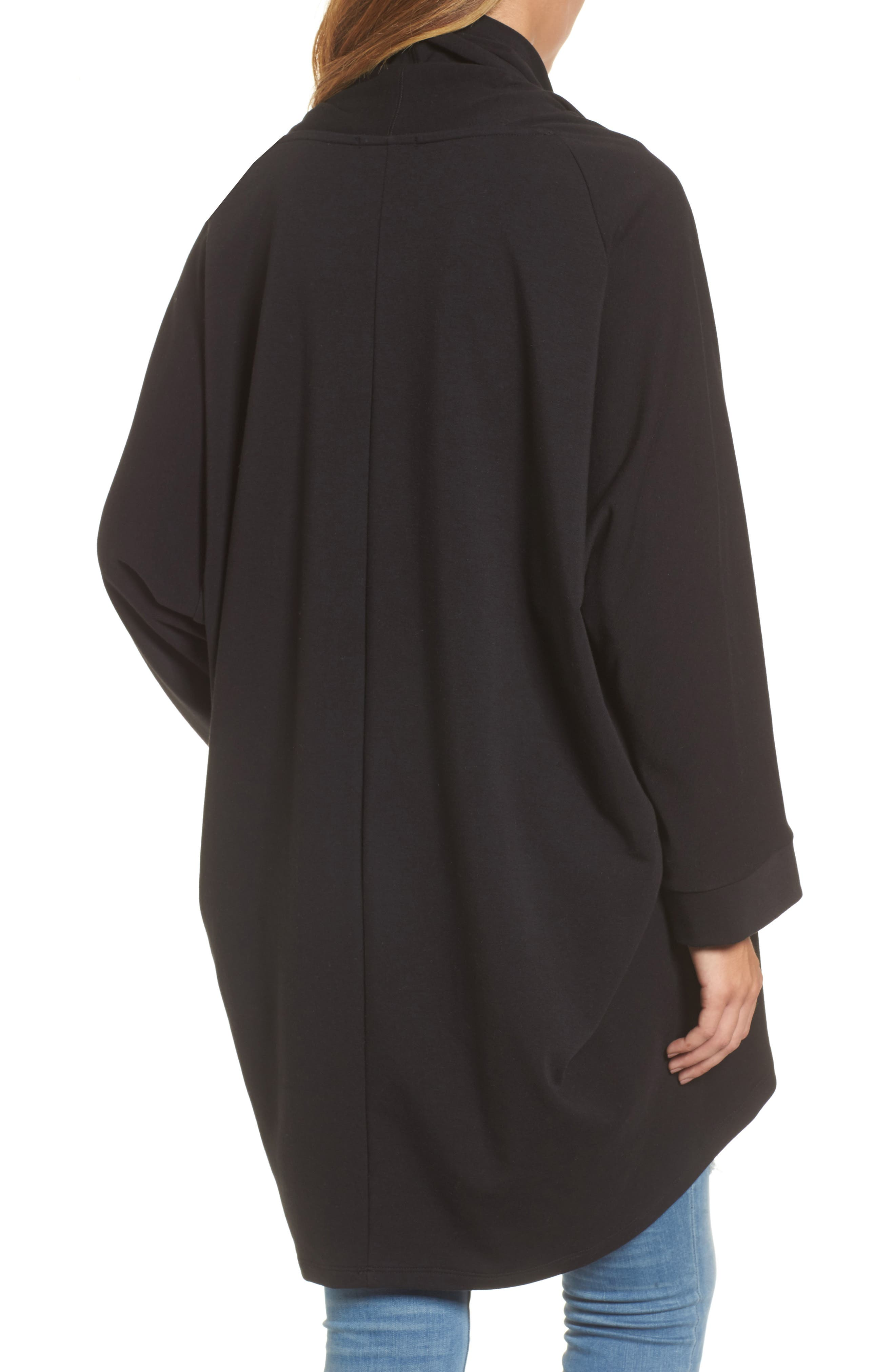 Cocoon Knit Midi Cardigan,                             Alternate thumbnail 2, color,                             Black