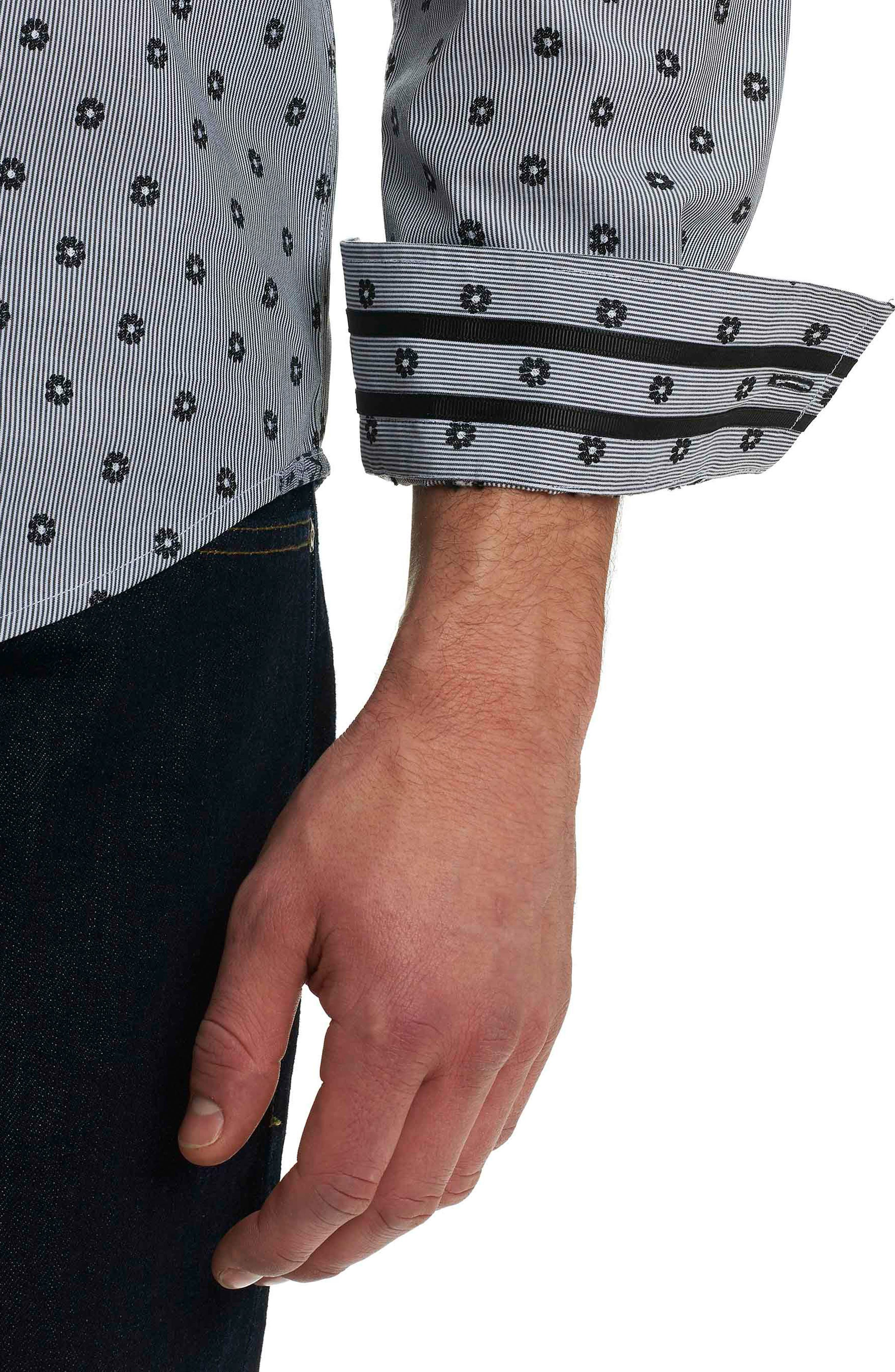 Ned Slim Fit Floral Stripe Sport Shirt,                             Alternate thumbnail 6, color,                             Black