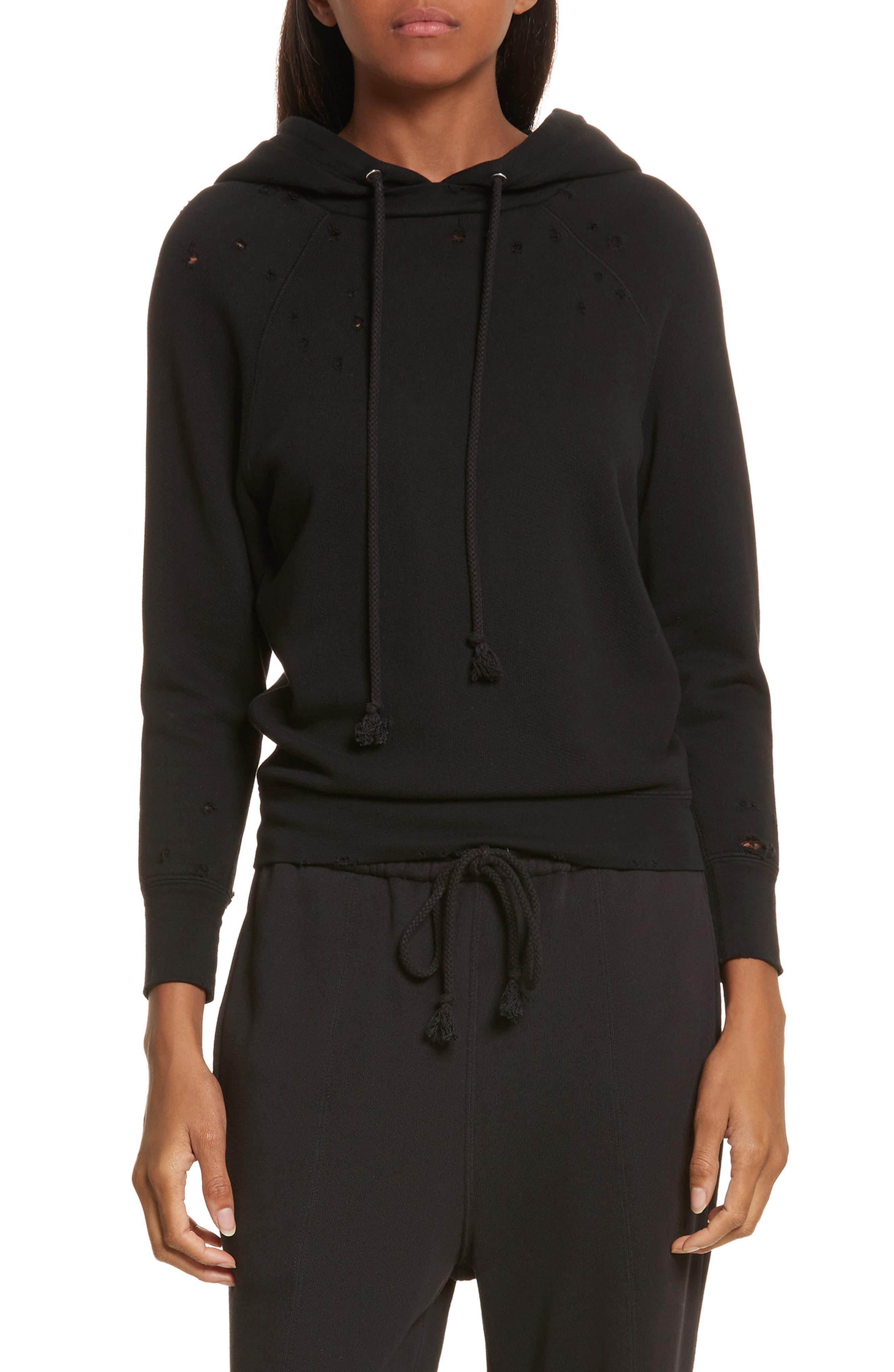 Shrunken Cotton Sweatshirt,                         Main,                         color, Black