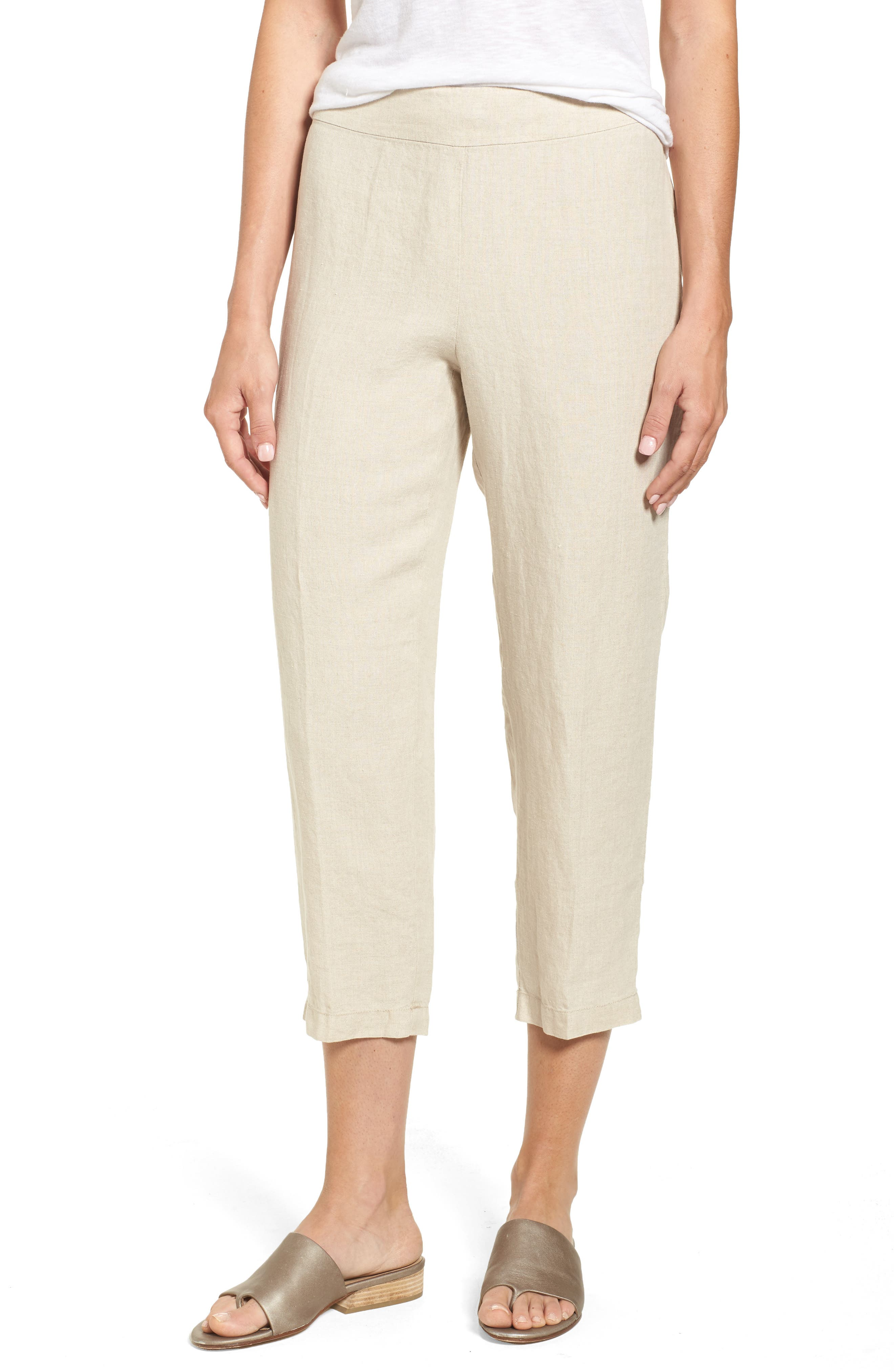 Organic Linen Crop Pants,                         Main,                         color, Unnatural