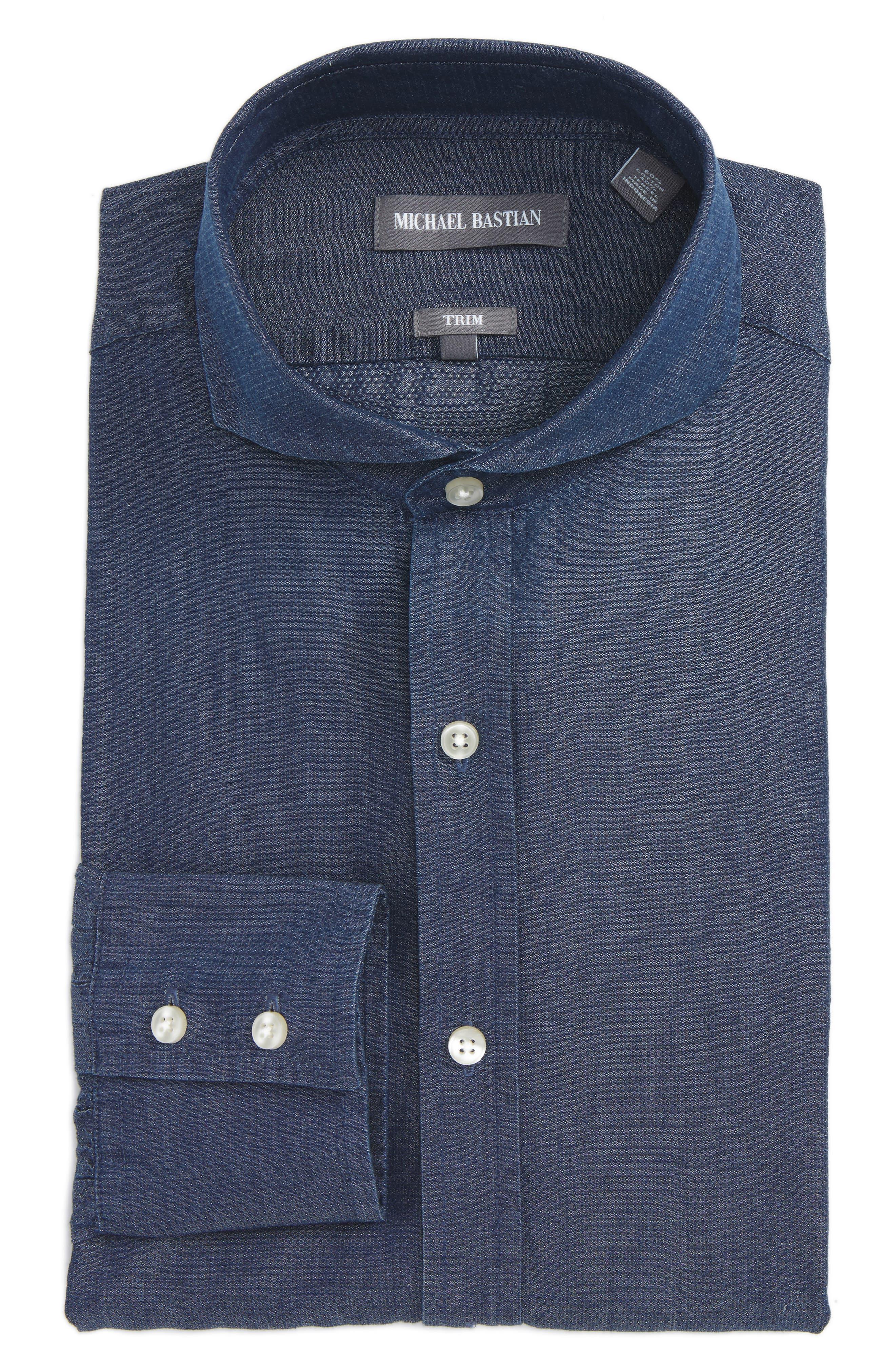 Michael Bastian Trim Fit Micro Foulard Dress Shirt