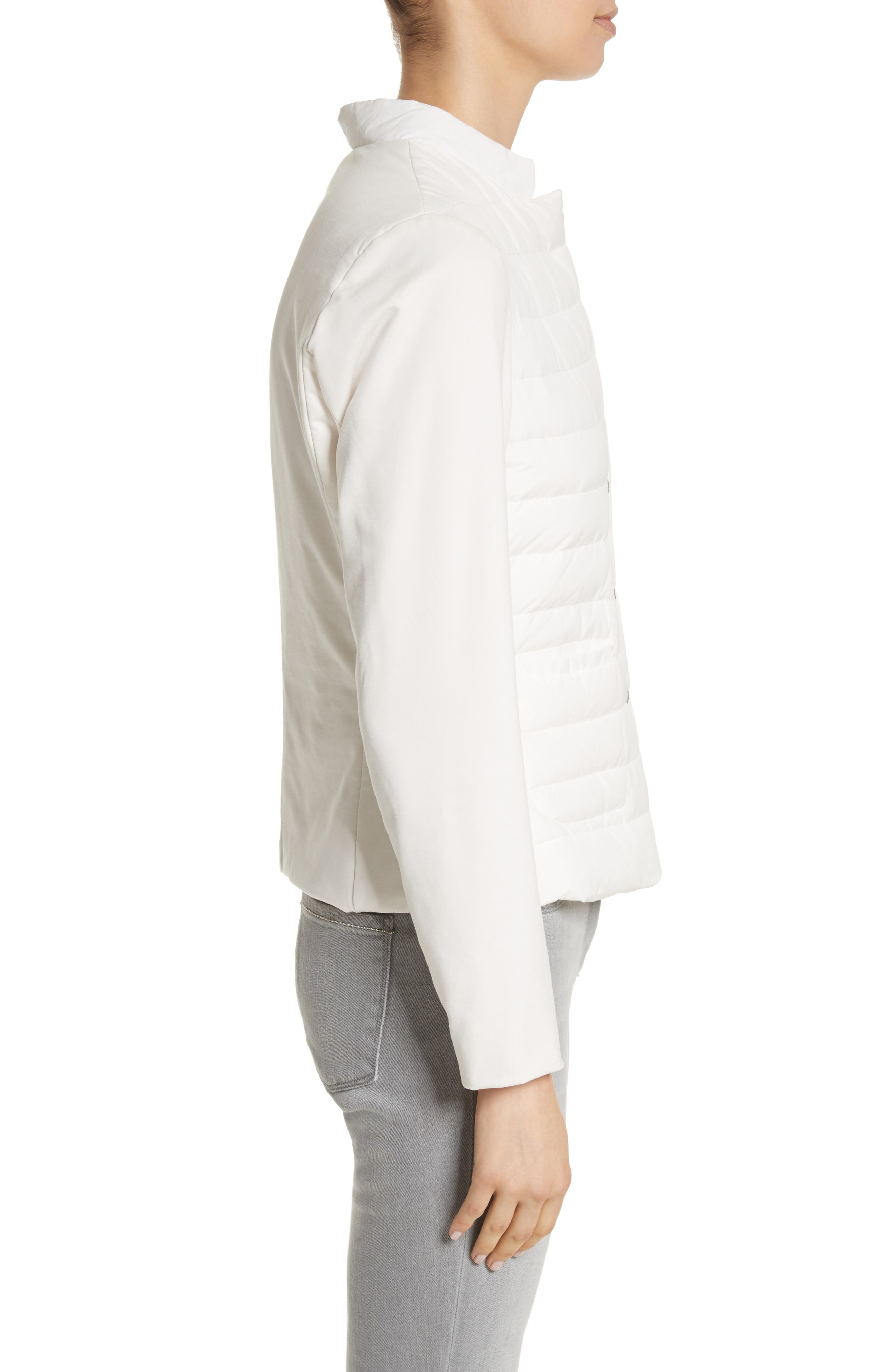 Rodier Jersey Puffer Front Jacket,                             Alternate thumbnail 4, color,                             Pure White