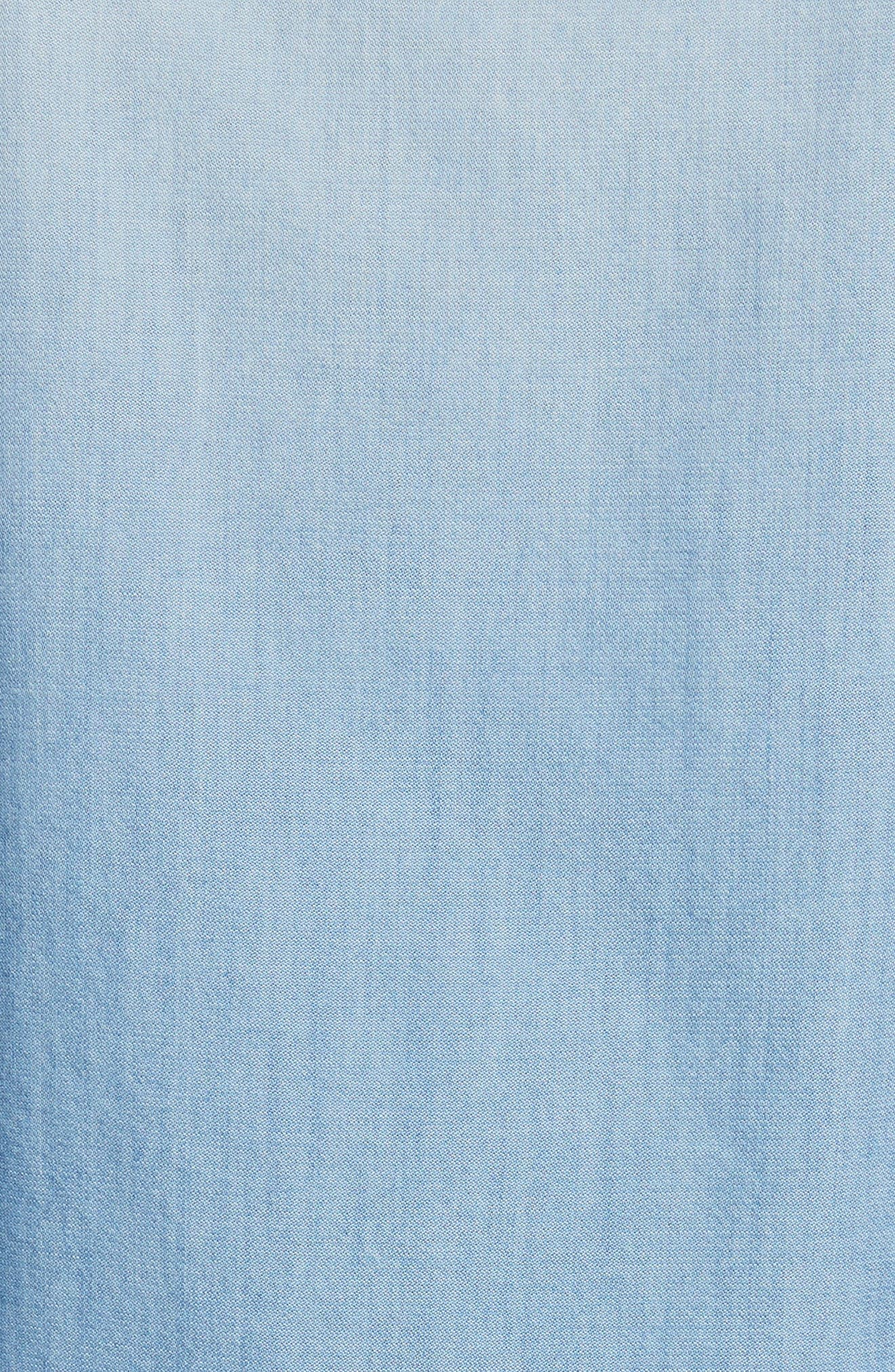 Cotton & Cashmere Chambray Blouse,                             Alternate thumbnail 6, color,                             Denim Blue