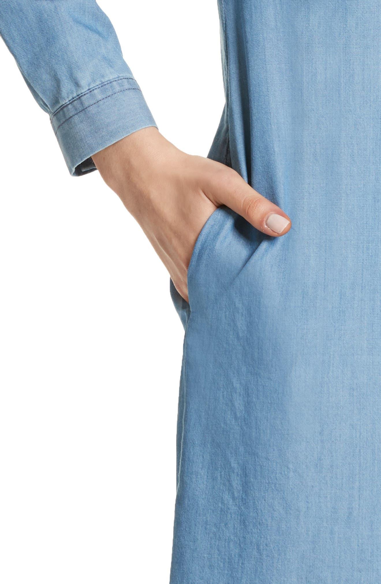 Cotton & Cashmere Chambray Shirtdress,                             Alternate thumbnail 4, color,                             Denim Blue