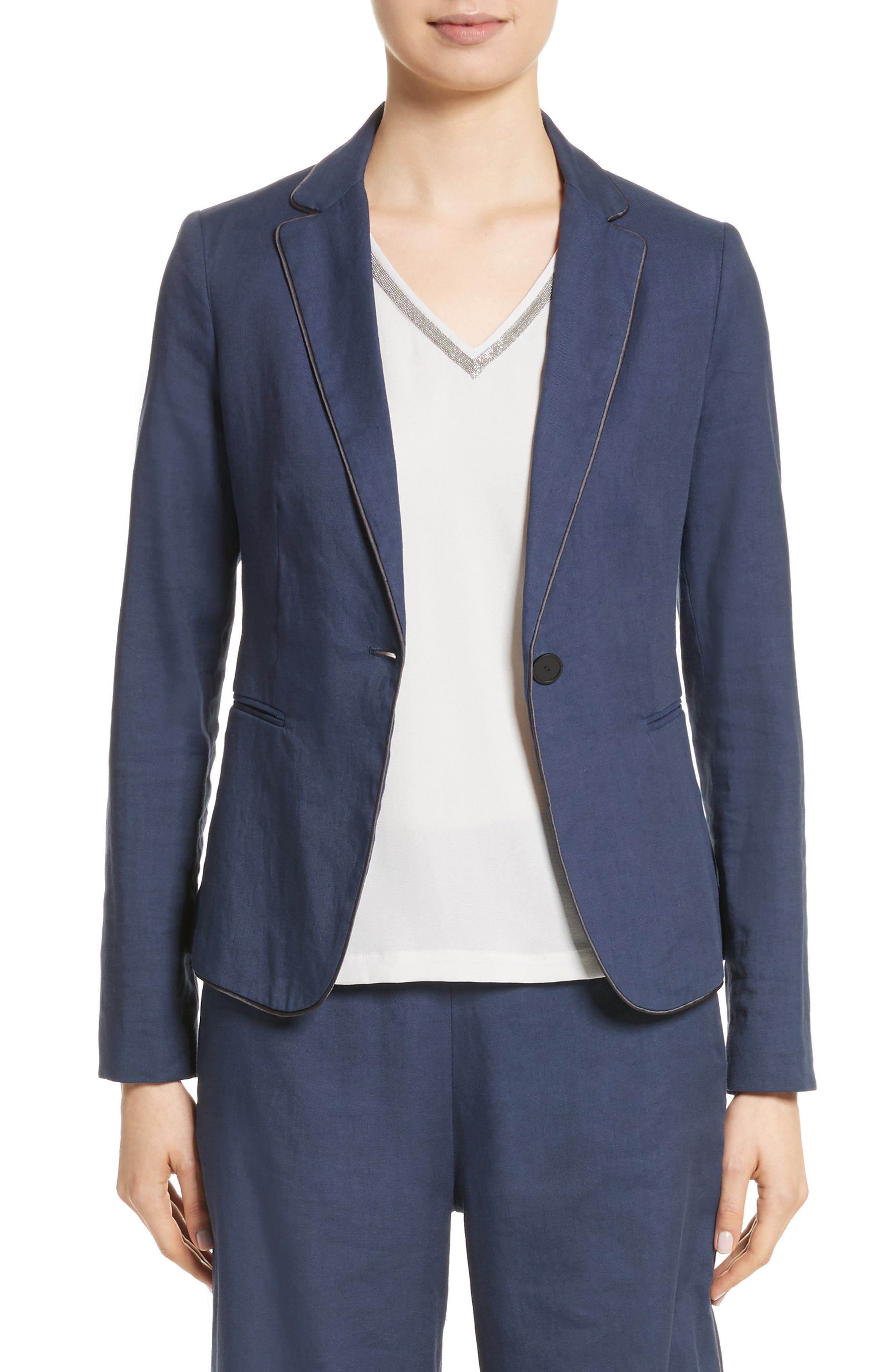 Piped Linen & Cotton Blend Blazer,                         Main,                         color, Navy