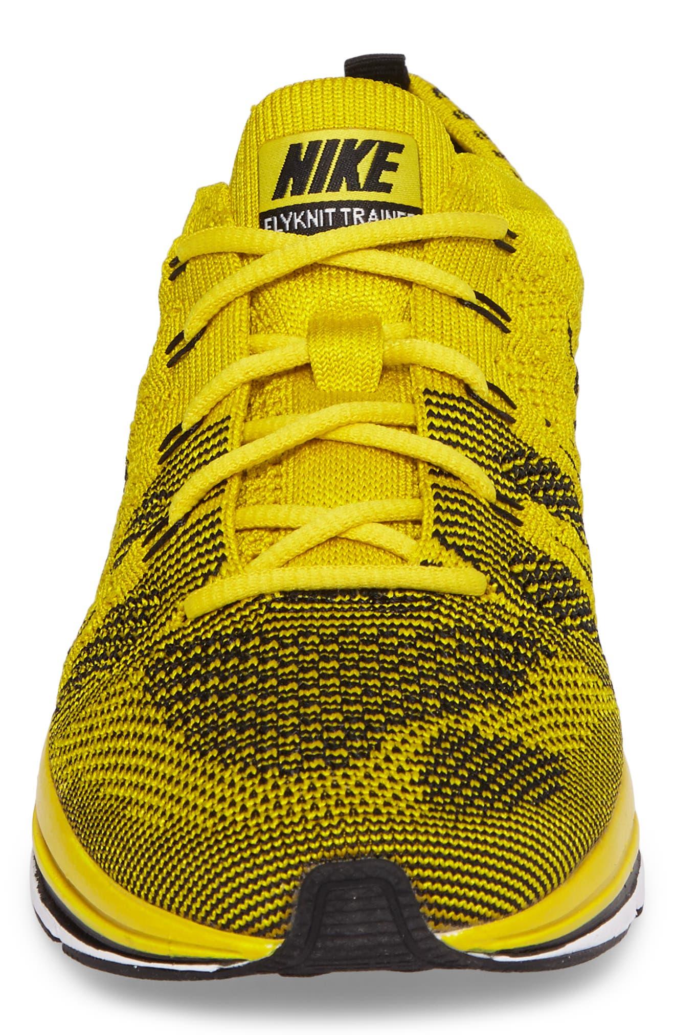 NikeLab Flyknit Trainer Sneaker,                             Alternate thumbnail 4, color,                             Bright Citron/ Black/ White