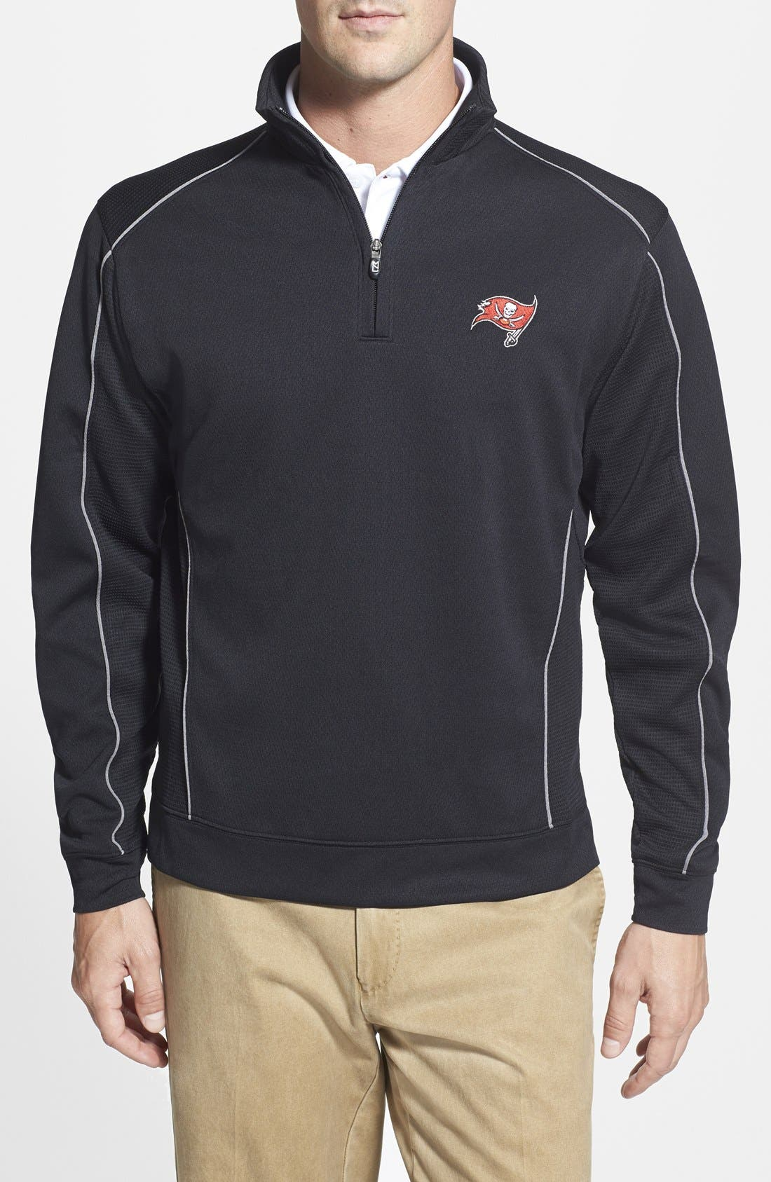 Tampa Bay Buccaneers - Edge DryTec Moisture Wicking Half Zip Pullover,                             Main thumbnail 1, color,                             Black