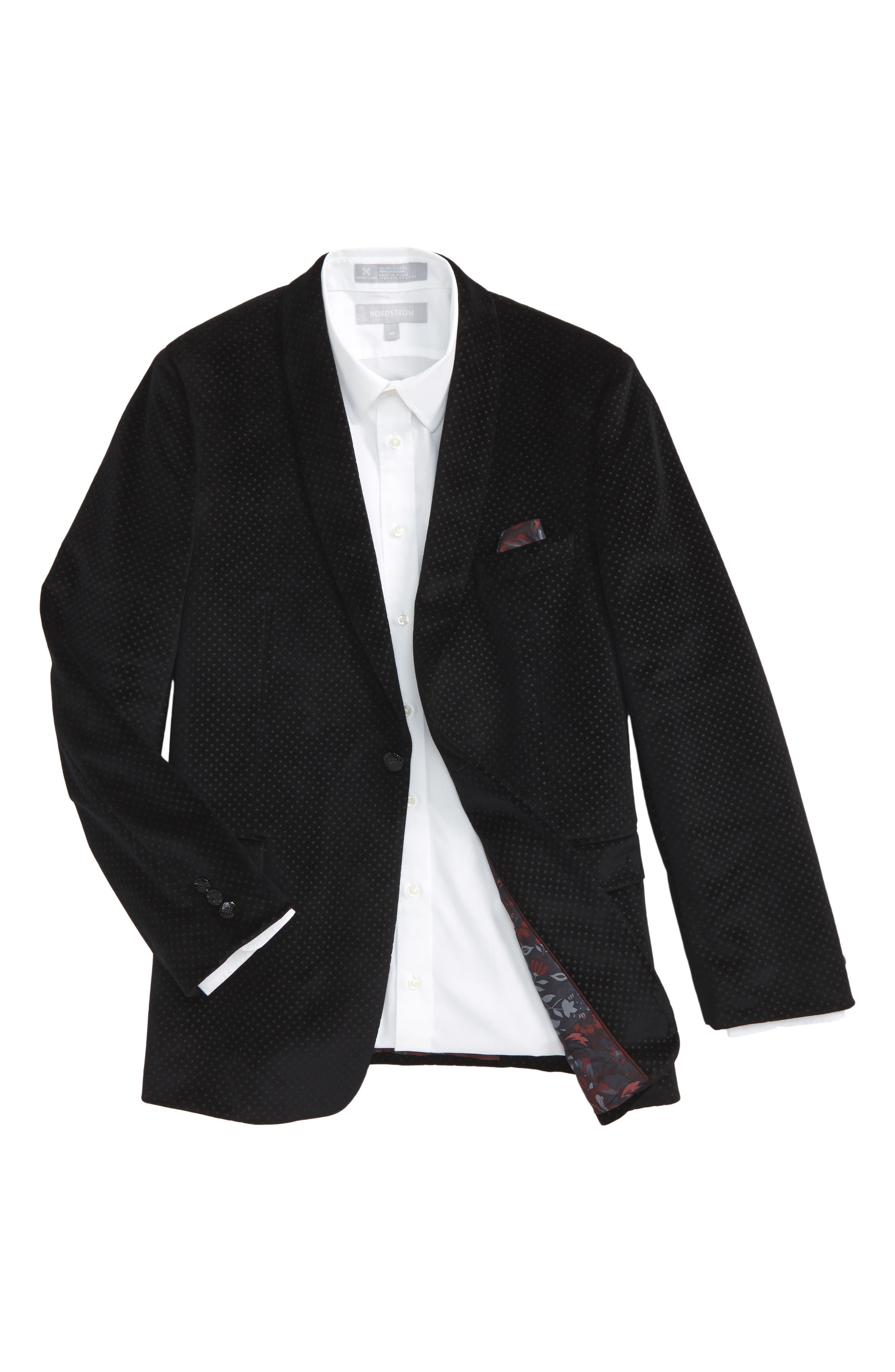 Neat Dot Velvet Blazer,                         Main,                         color, Black