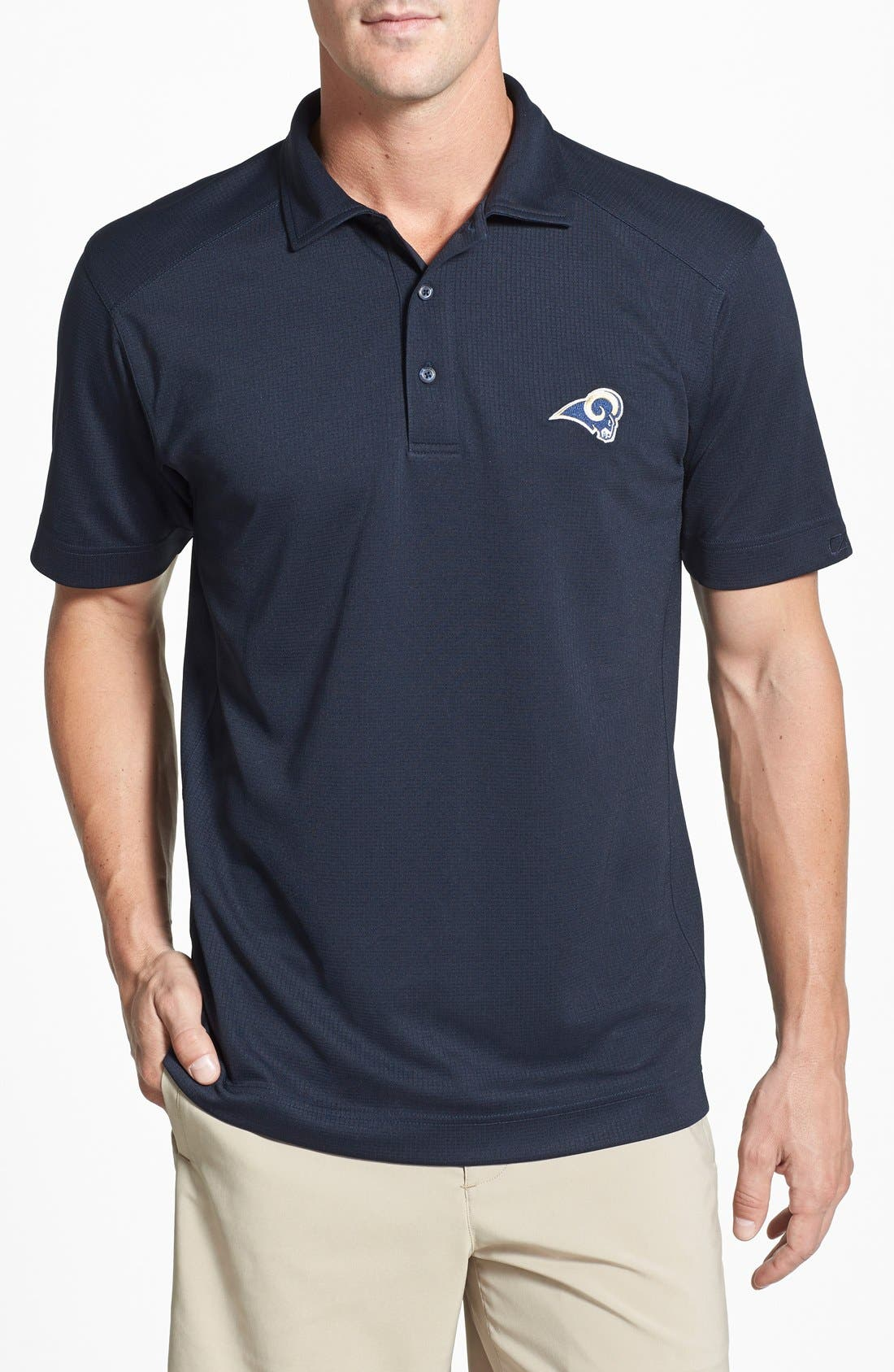 Los Angeles Rams - Genre DryTec Moisture Wicking Polo,                             Main thumbnail 1, color,                             Navy Blue