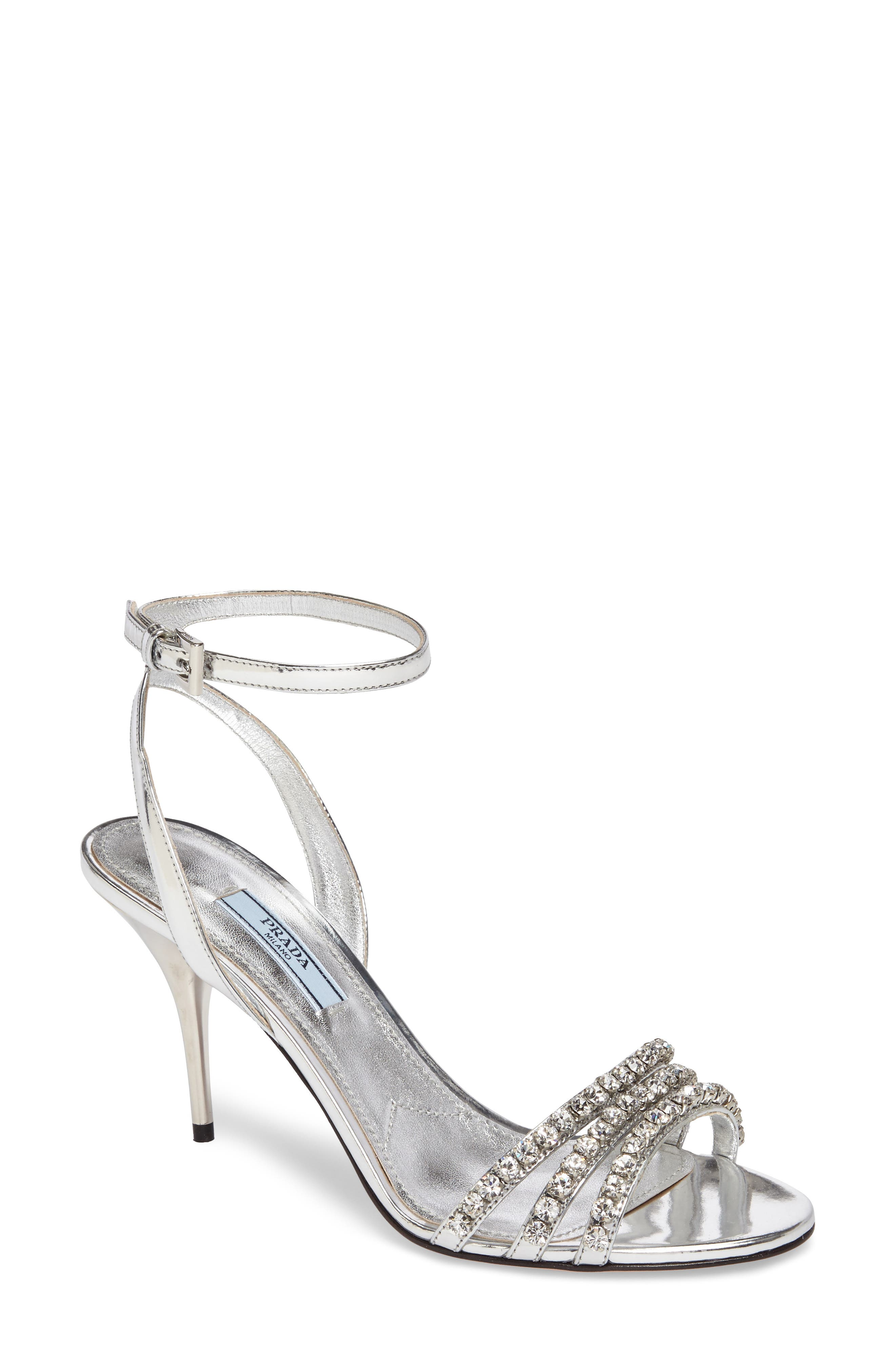 Jeweled Metallic Sandal,                         Main,                         color, Silver