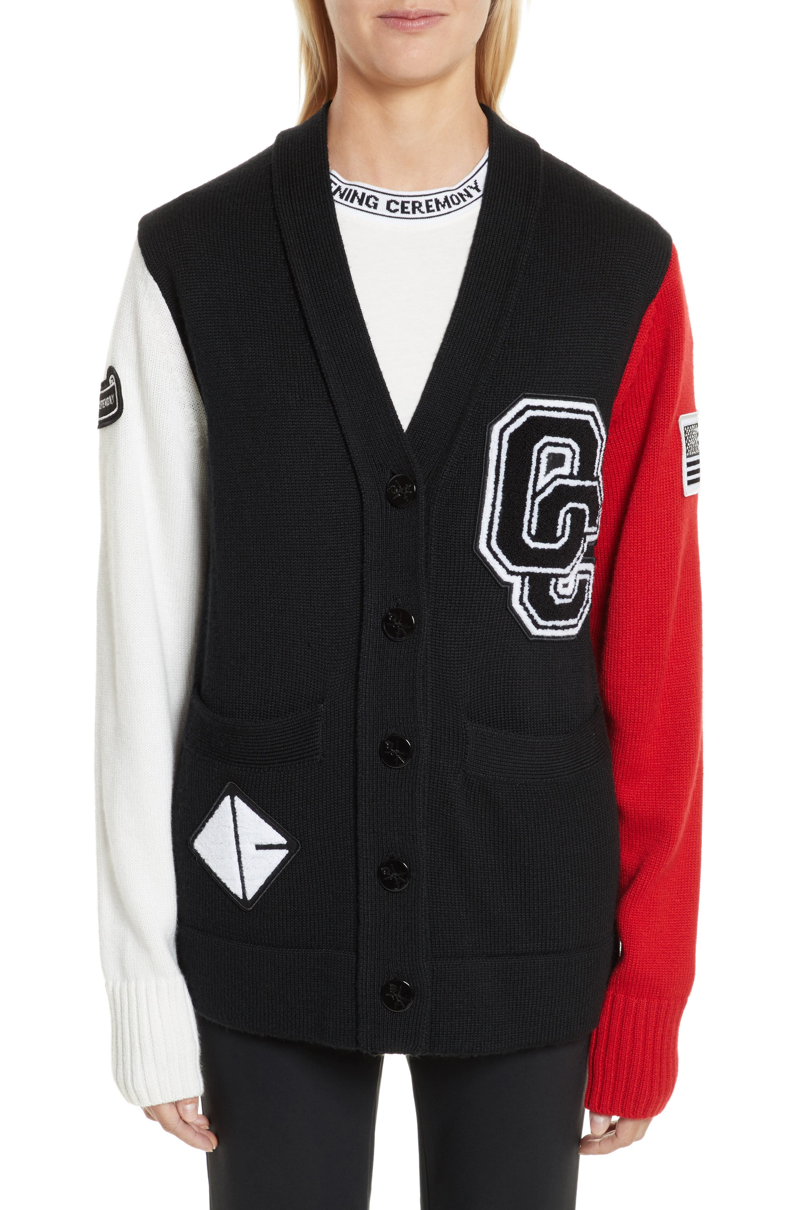 Logo Varsity Cardigan,                             Main thumbnail 1, color,                             Black Multi