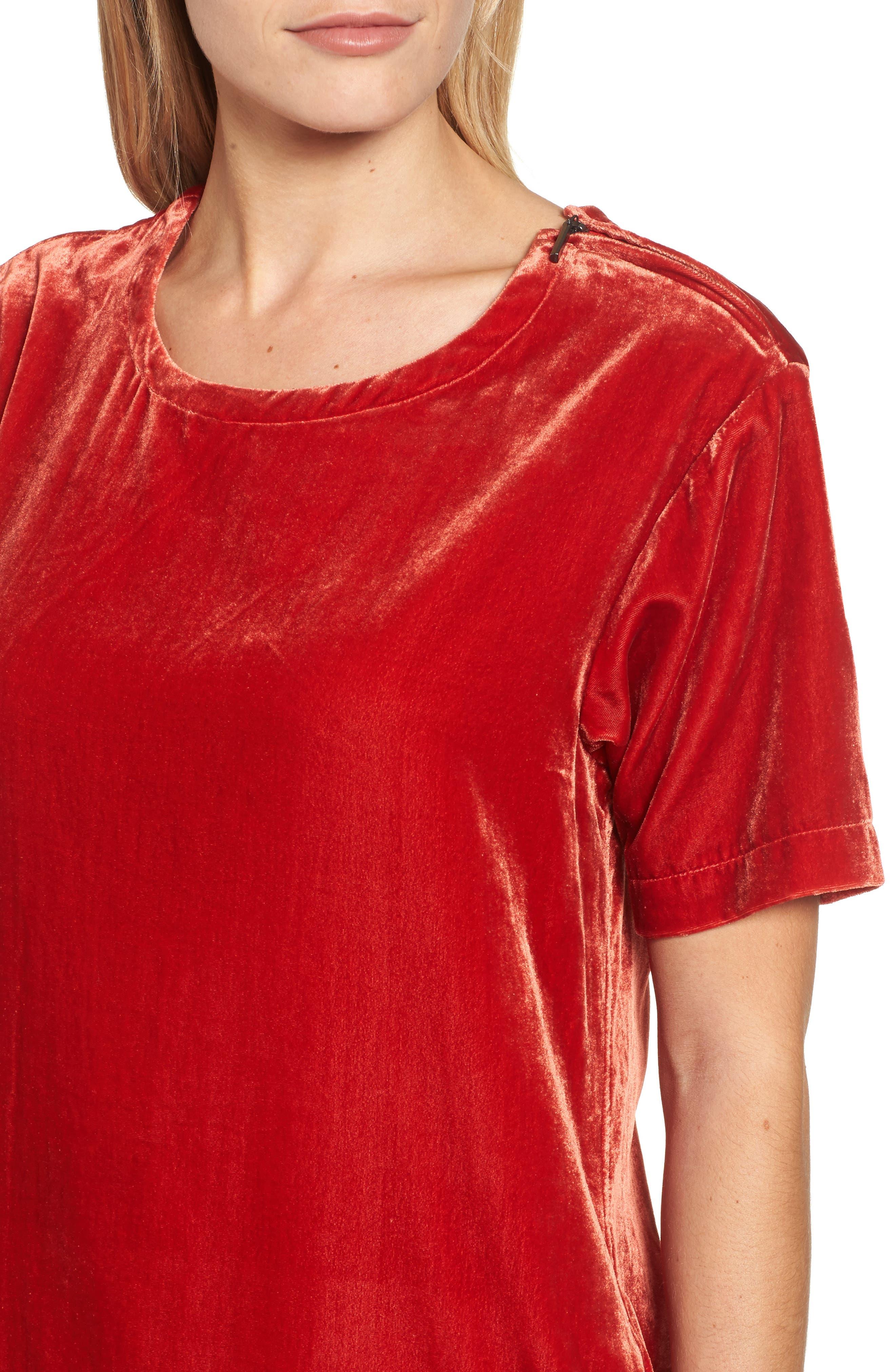 Zip Shoulder Velvet Shift Dress,                             Alternate thumbnail 4, color,                             Cherry