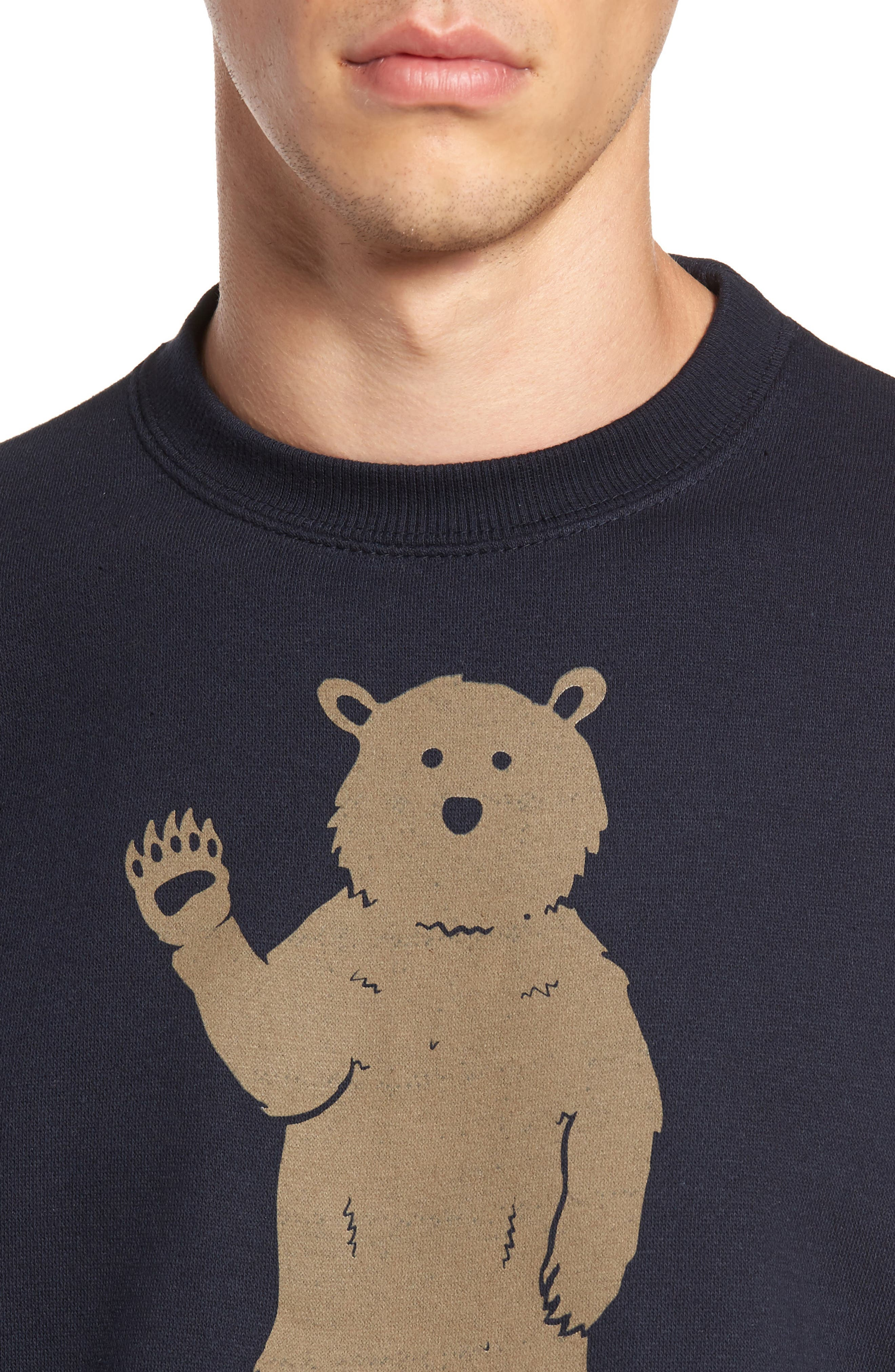 Bear in Socks Sweatshirt,                             Alternate thumbnail 4, color,                             Navy
