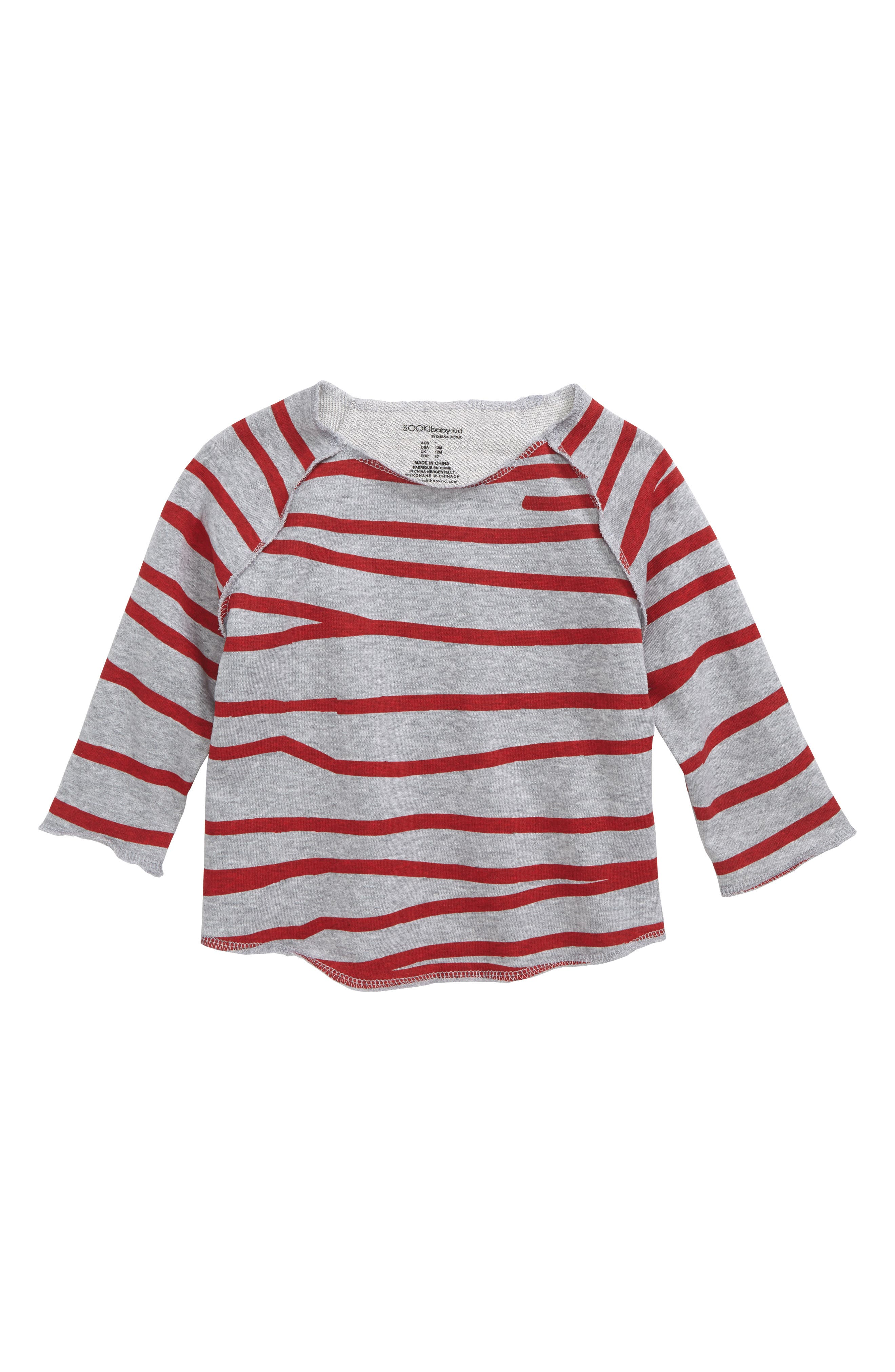 Stripe Shirt,                         Main,                         color, Grey Marle/ Red