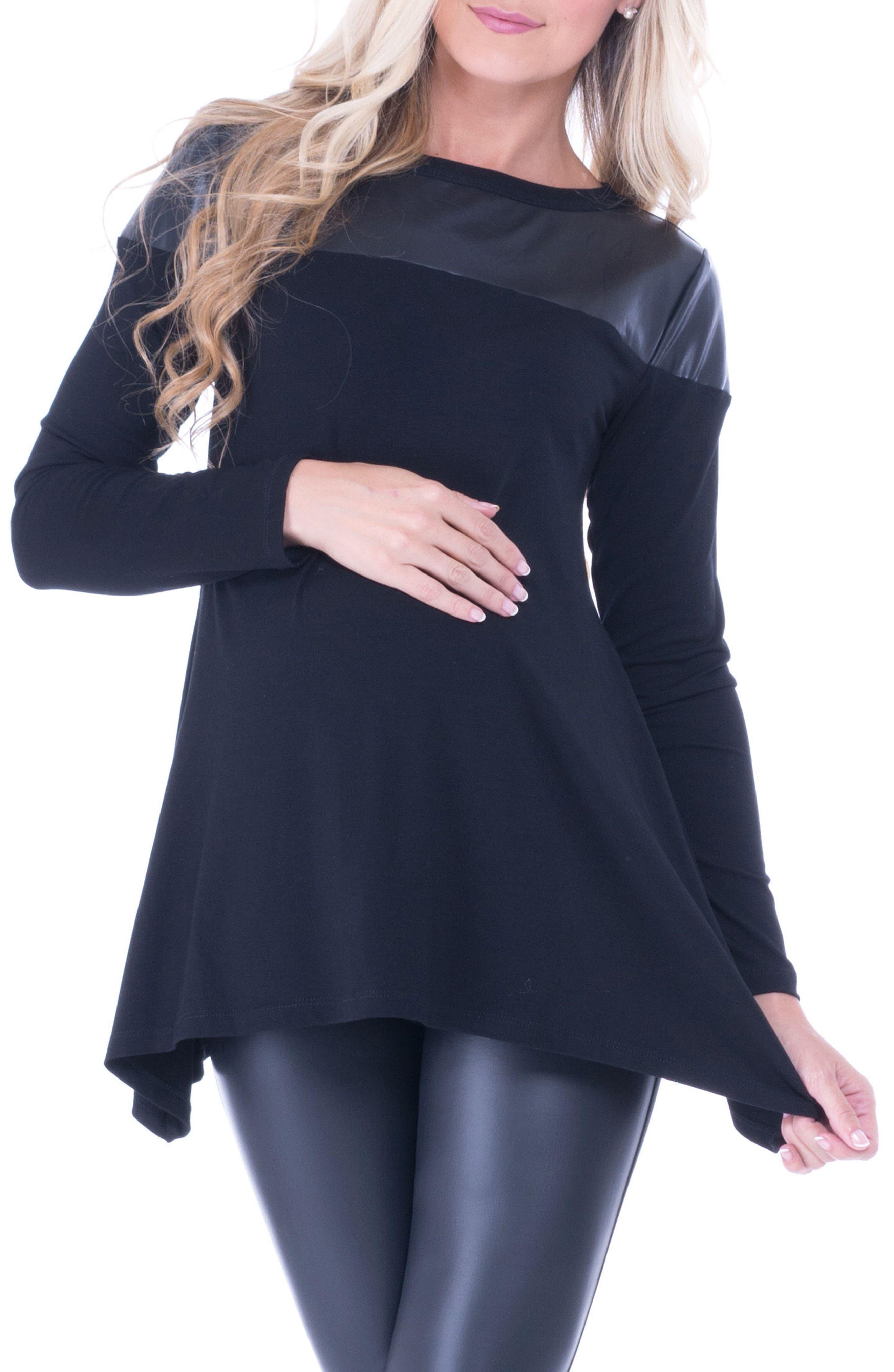 Bailey Faux Leather Yoke Maternity Top,                         Main,                         color, Black