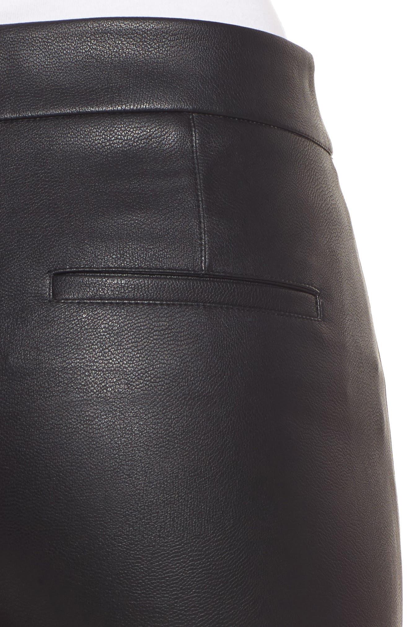 Varick Wide Leg Faux Leather Culottes,                             Alternate thumbnail 4, color,                             Black