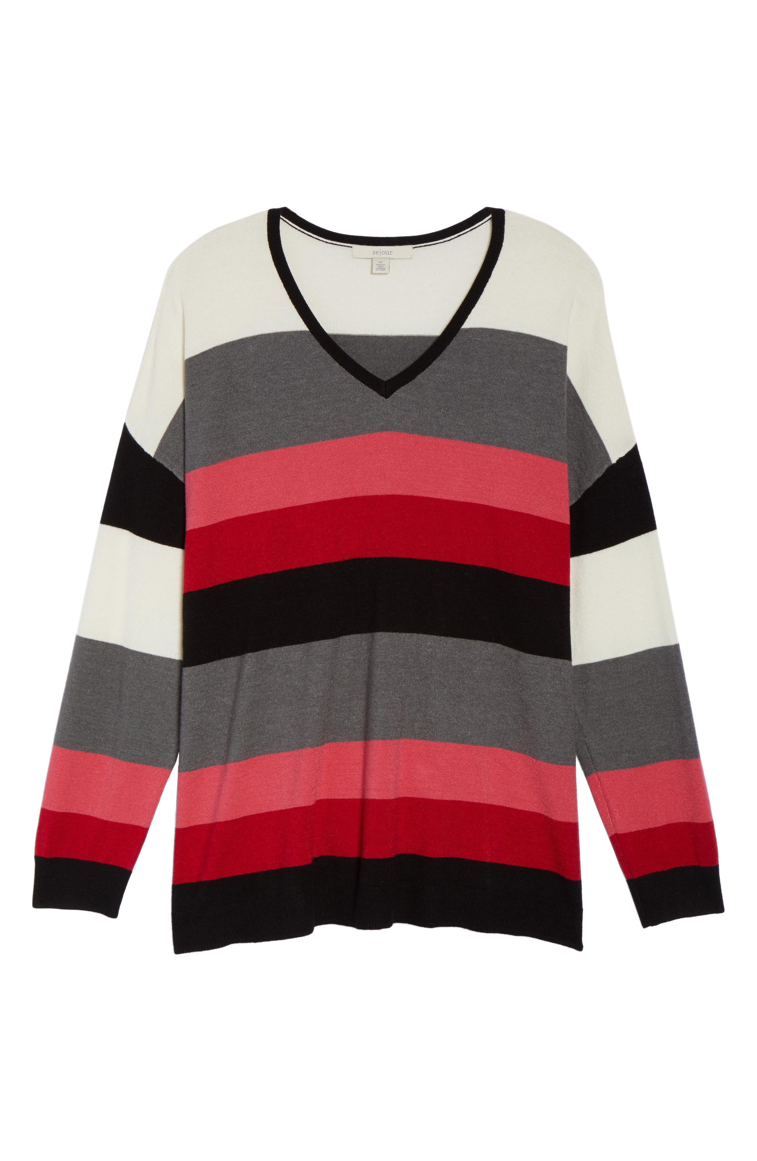 V-Neck Drop Shoulder Pullover,                             Alternate thumbnail 6, color,                             Red Multi Pop Stripe