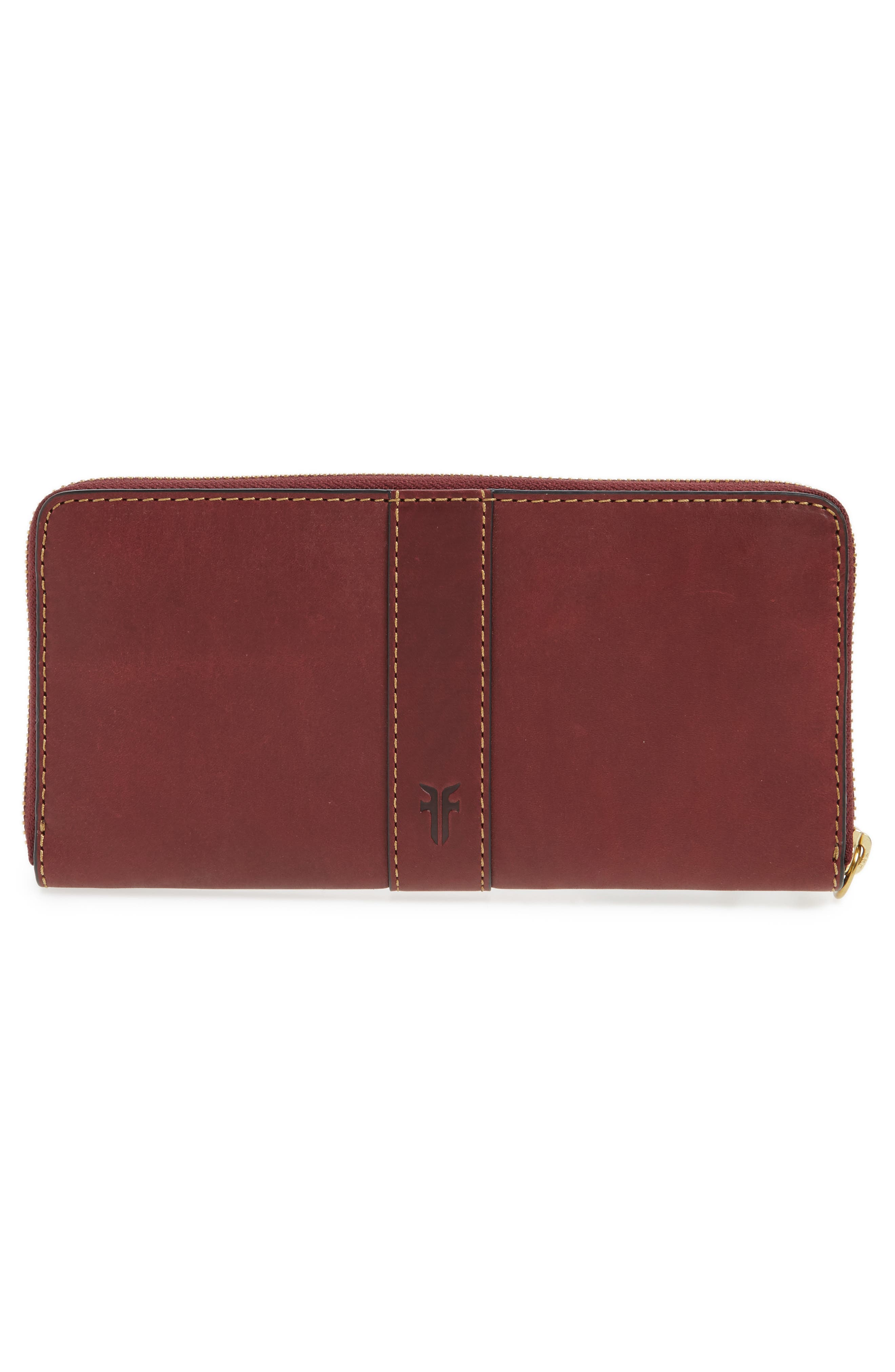Ilana Harness Leather Zip Wallet,                             Alternate thumbnail 4, color,                             Wine
