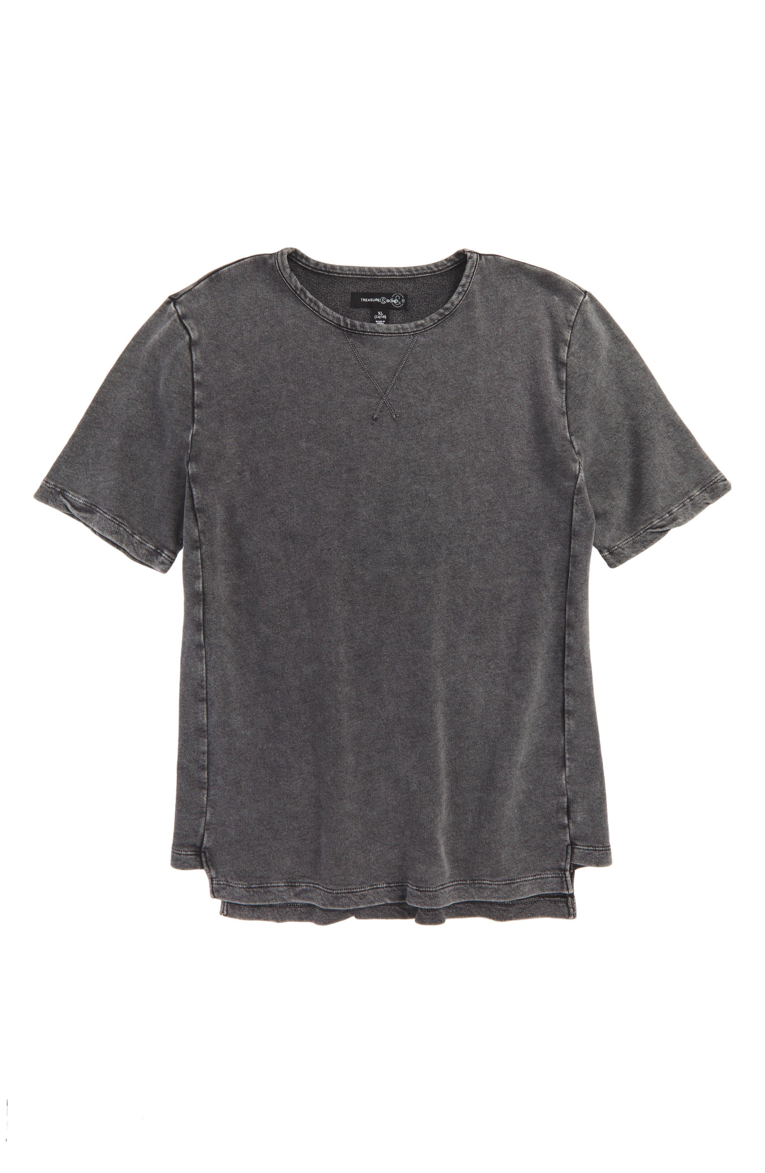 Boxy Fleece T-Shirt,                         Main,                         color, Black Wash