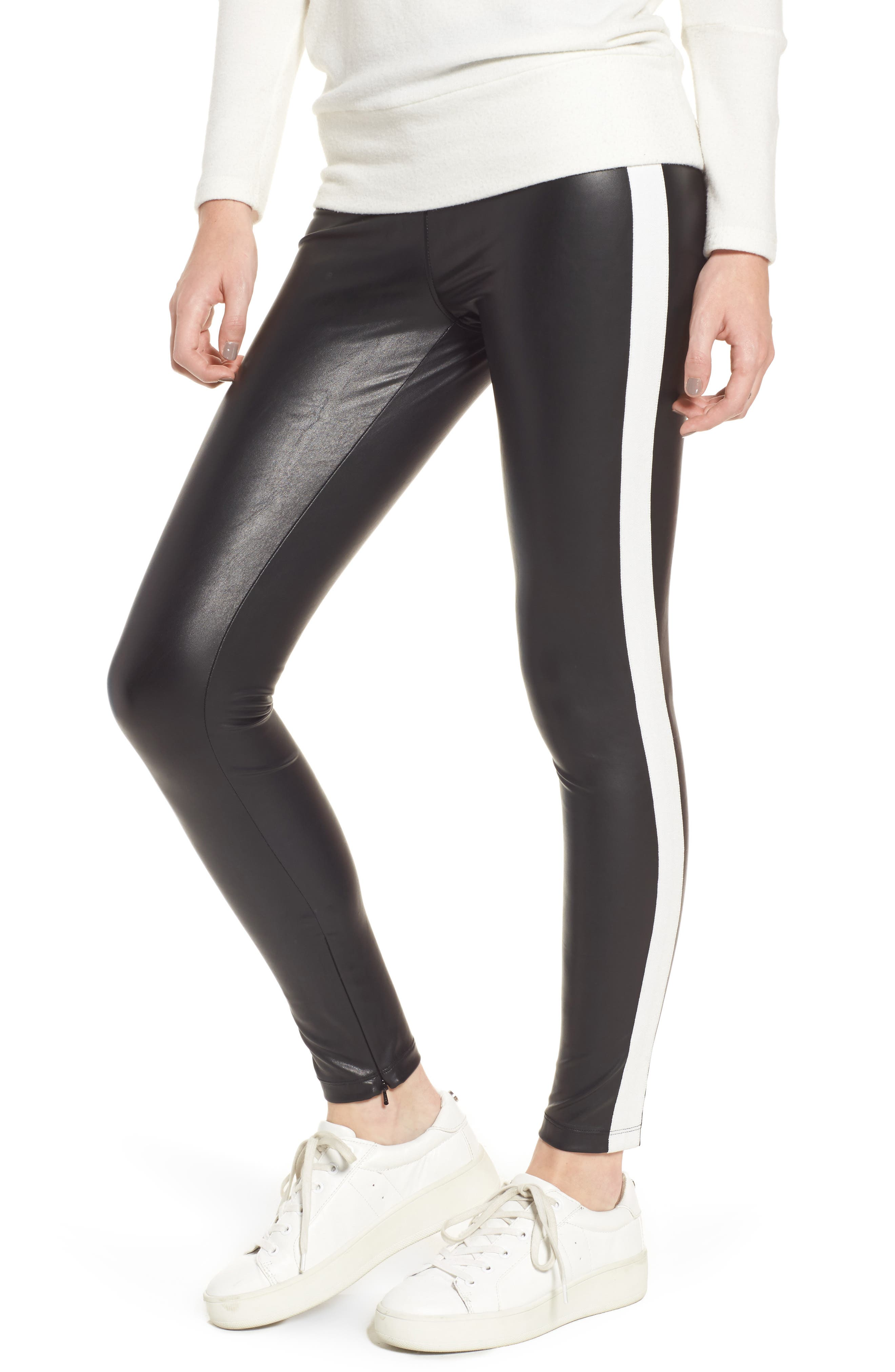 Tuxedo Stripe Zip Faux Leather Leggings,                         Main,                         color, Classic Black W/ White