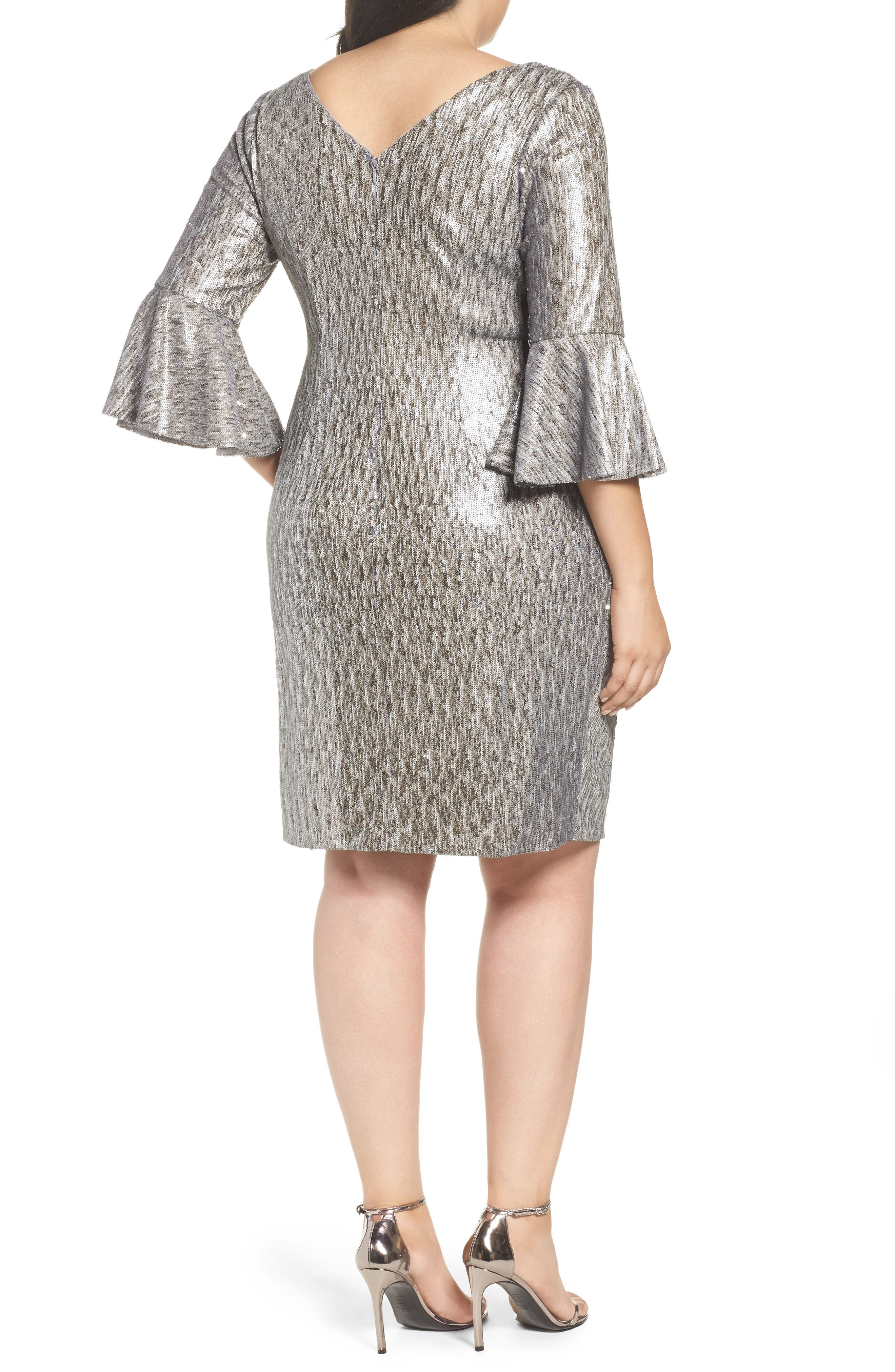 Alternate Image 3  - Adrianna Papell Bell Sleeve Sequin Sheath Dress (Plus Size)