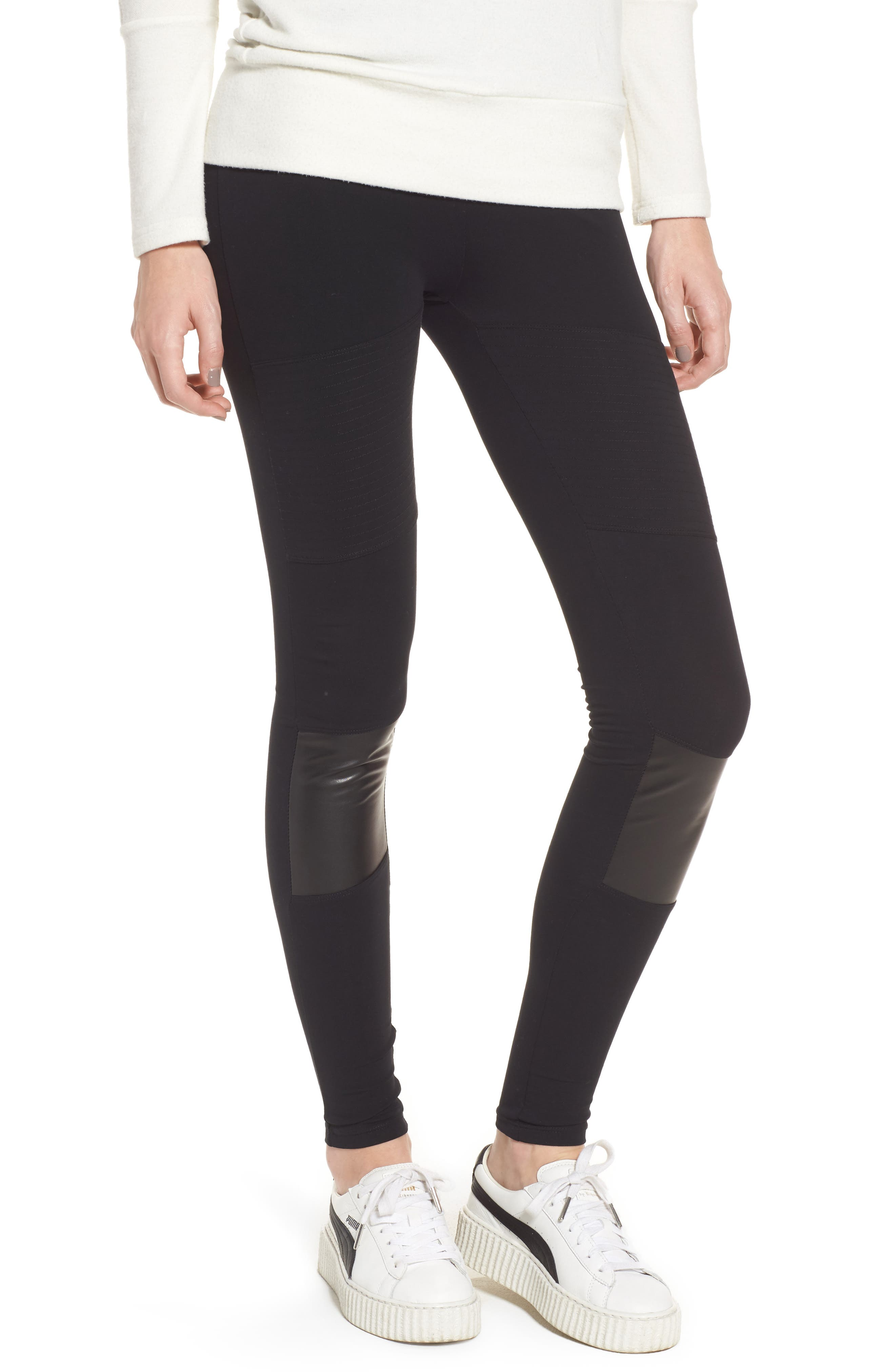 BP. Faux Leather Panel Leggings