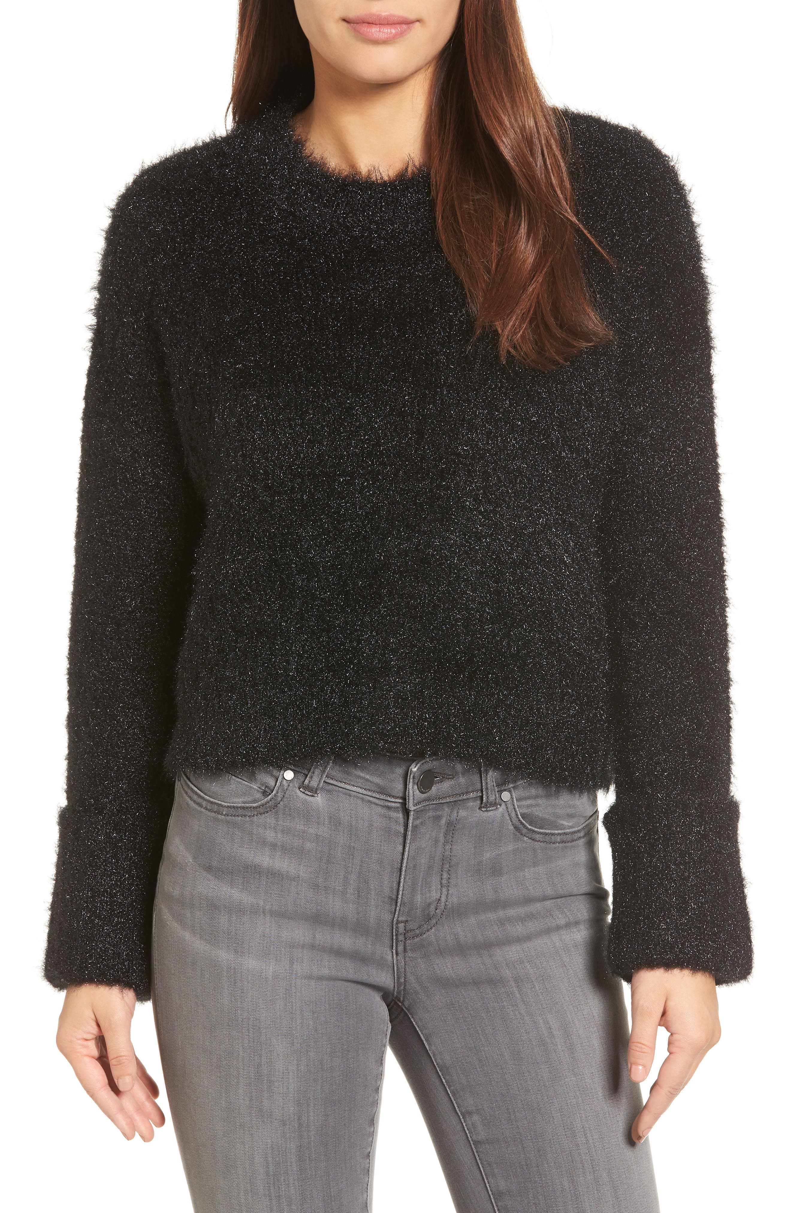 Large Cuff Crop Sweater,                             Main thumbnail 1, color,                             Black