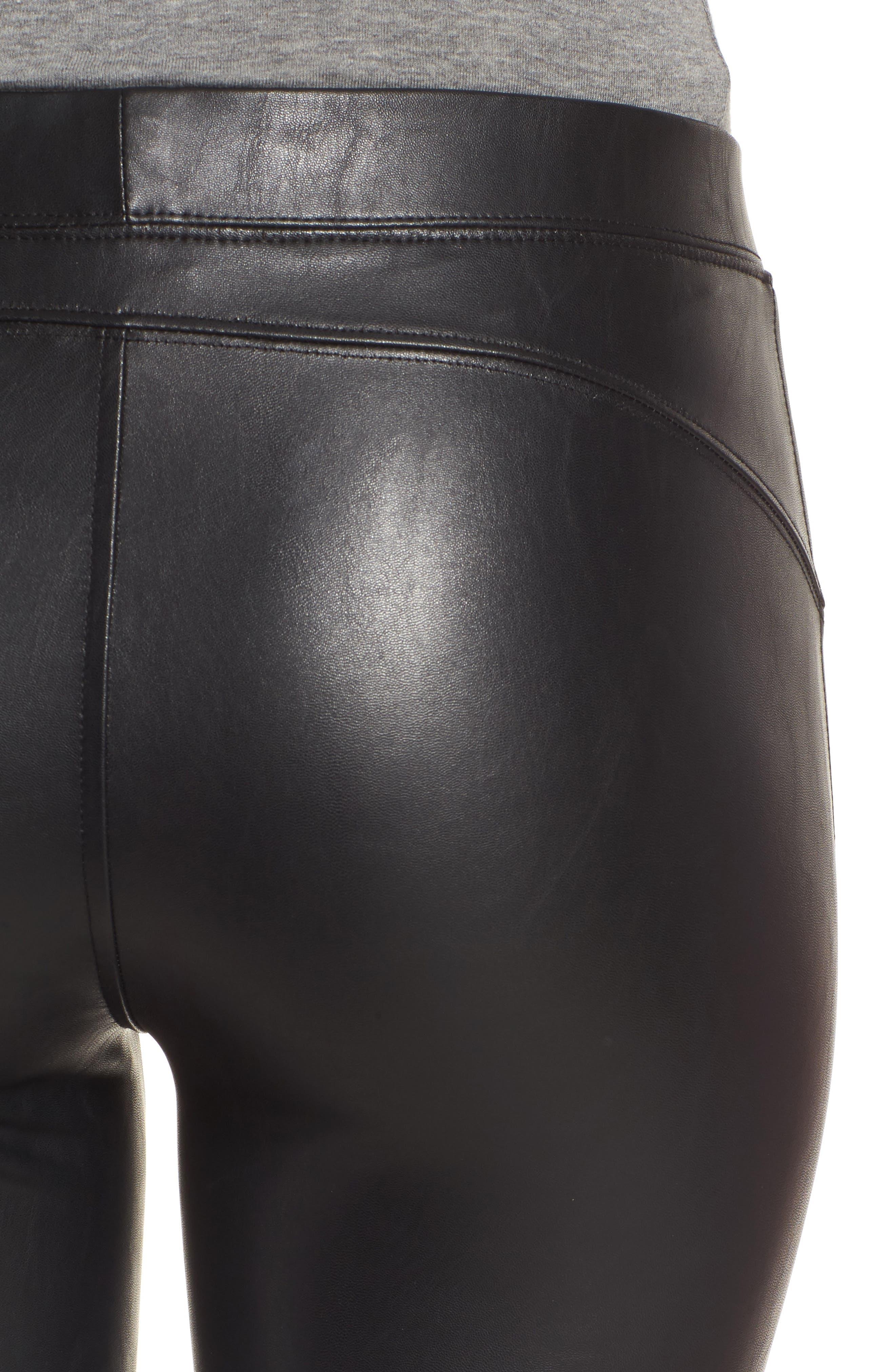 Zip Cuff Faux Leather Moto Leggings,                             Alternate thumbnail 4, color,                             Black