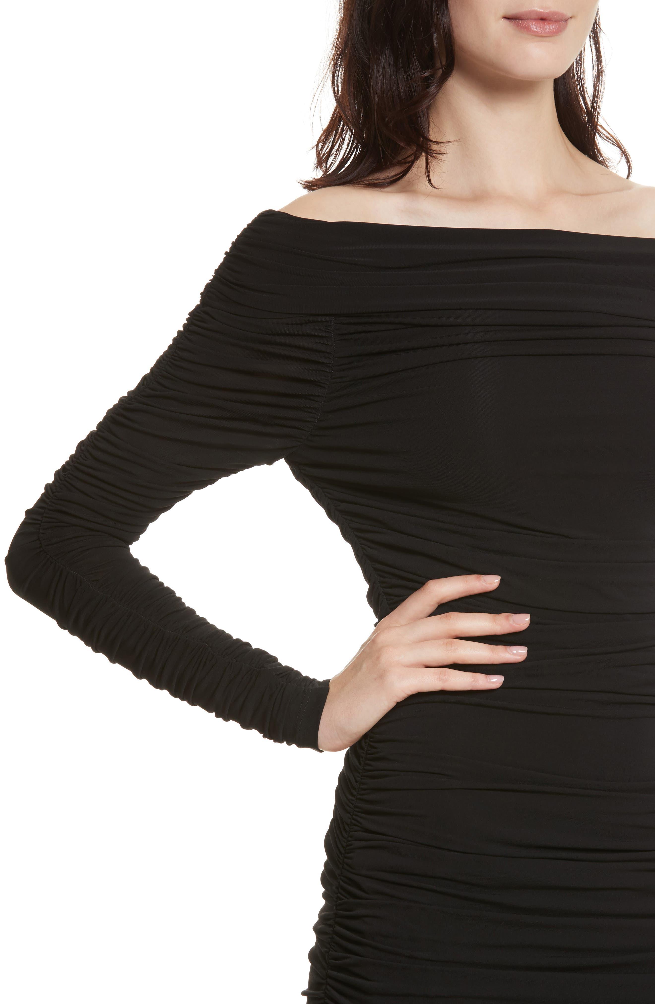 Blaise Off the Shoulder Ruched Dress,                             Alternate thumbnail 4, color,                             Black