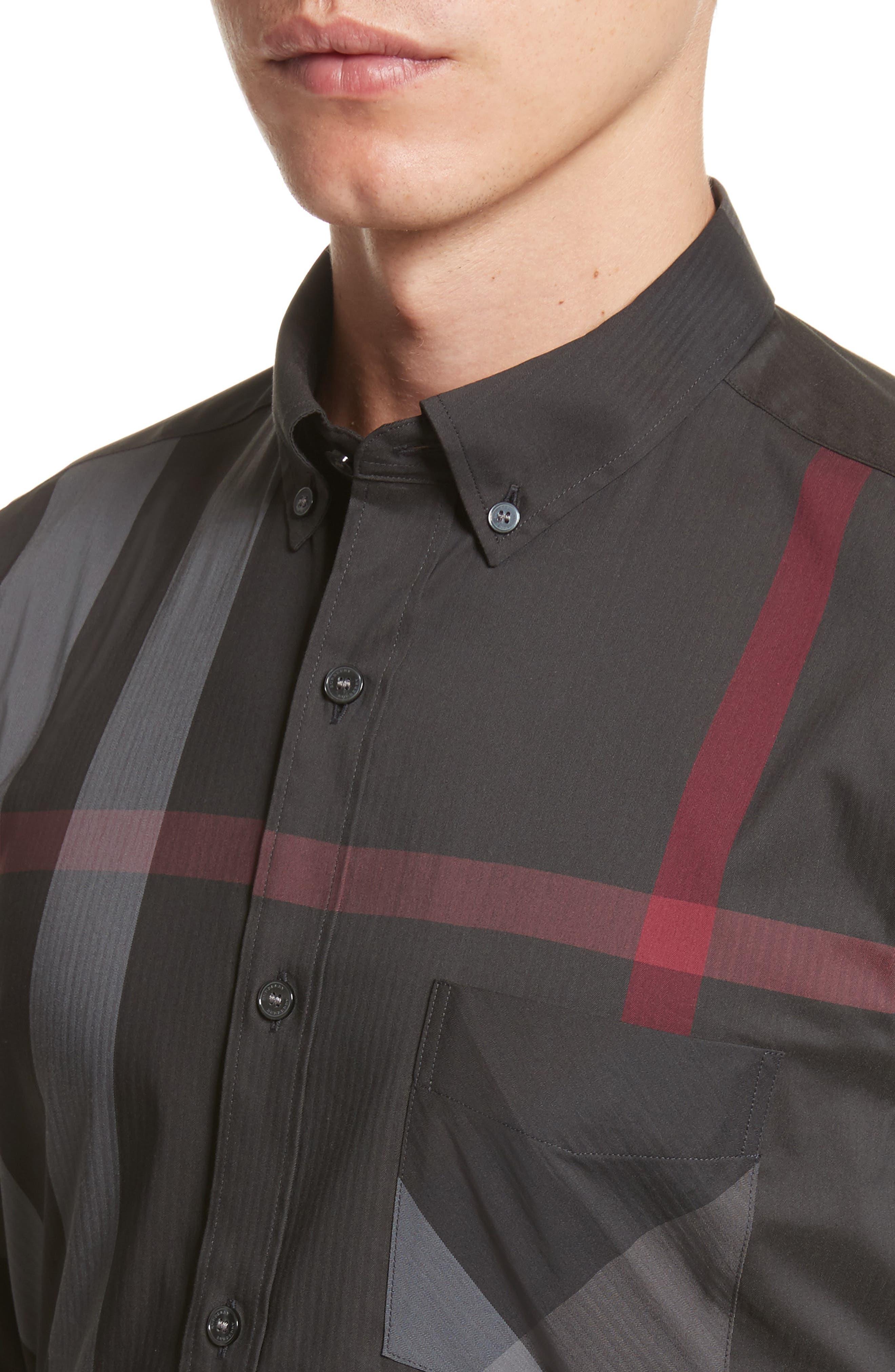 Thornaby Slim Fit Plaid Sportshirt,                             Alternate thumbnail 2, color,                             Charcoal