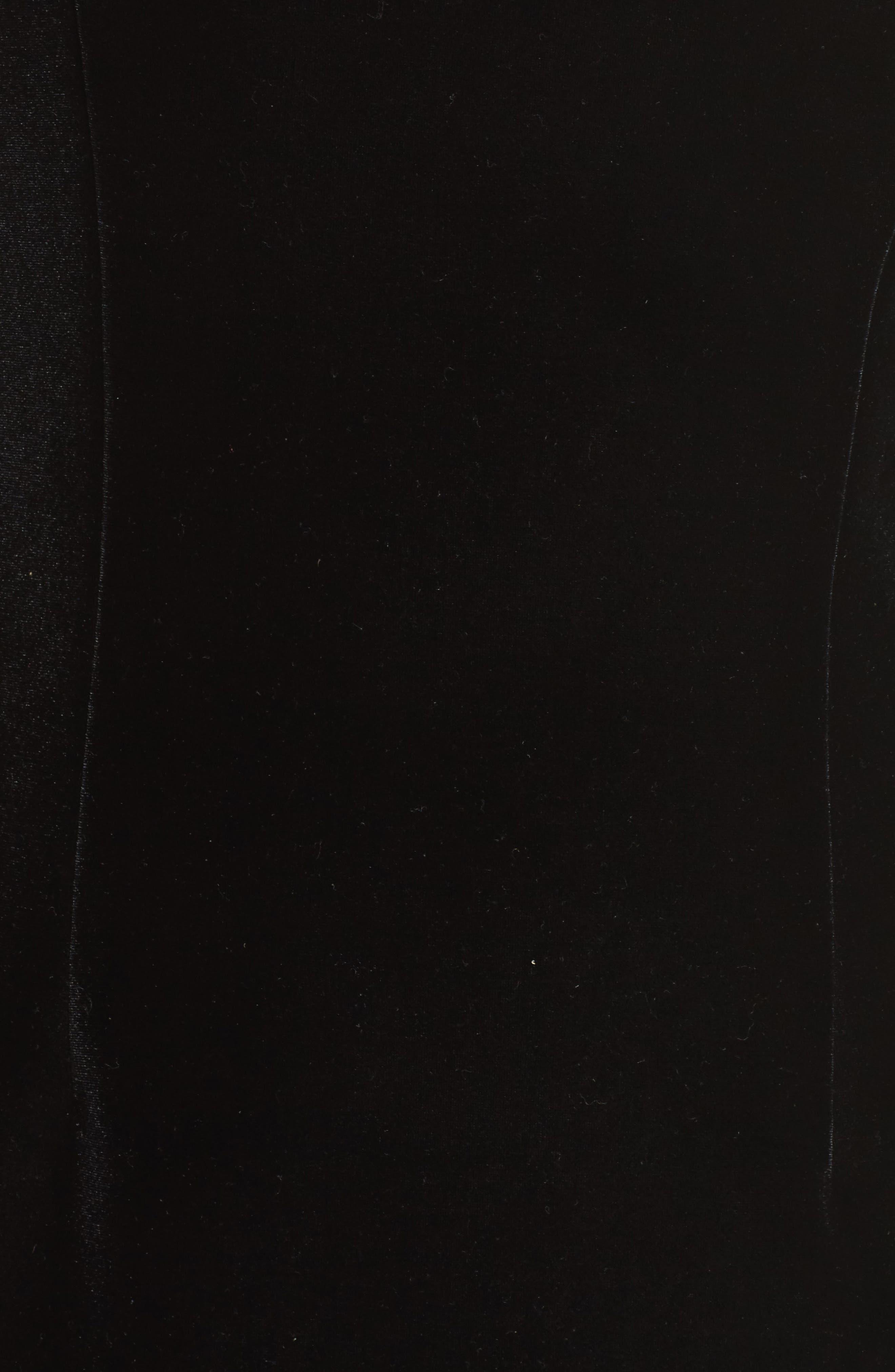 Bow One-Shoulder Velvet Gown,                             Alternate thumbnail 6, color,                             Black