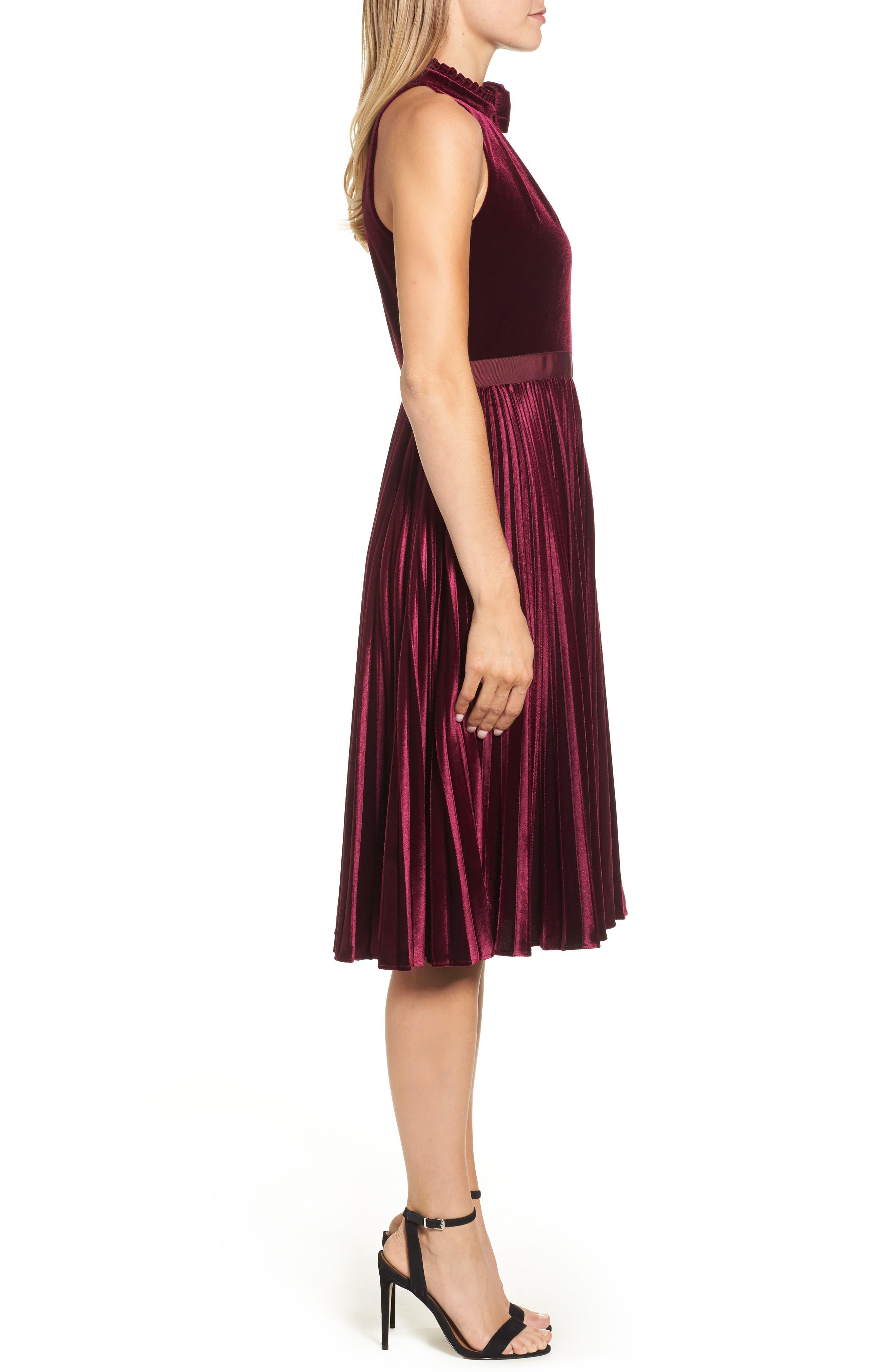 Cornela Pleated Velvet Dress,                             Alternate thumbnail 3, color,                             Oxblood
