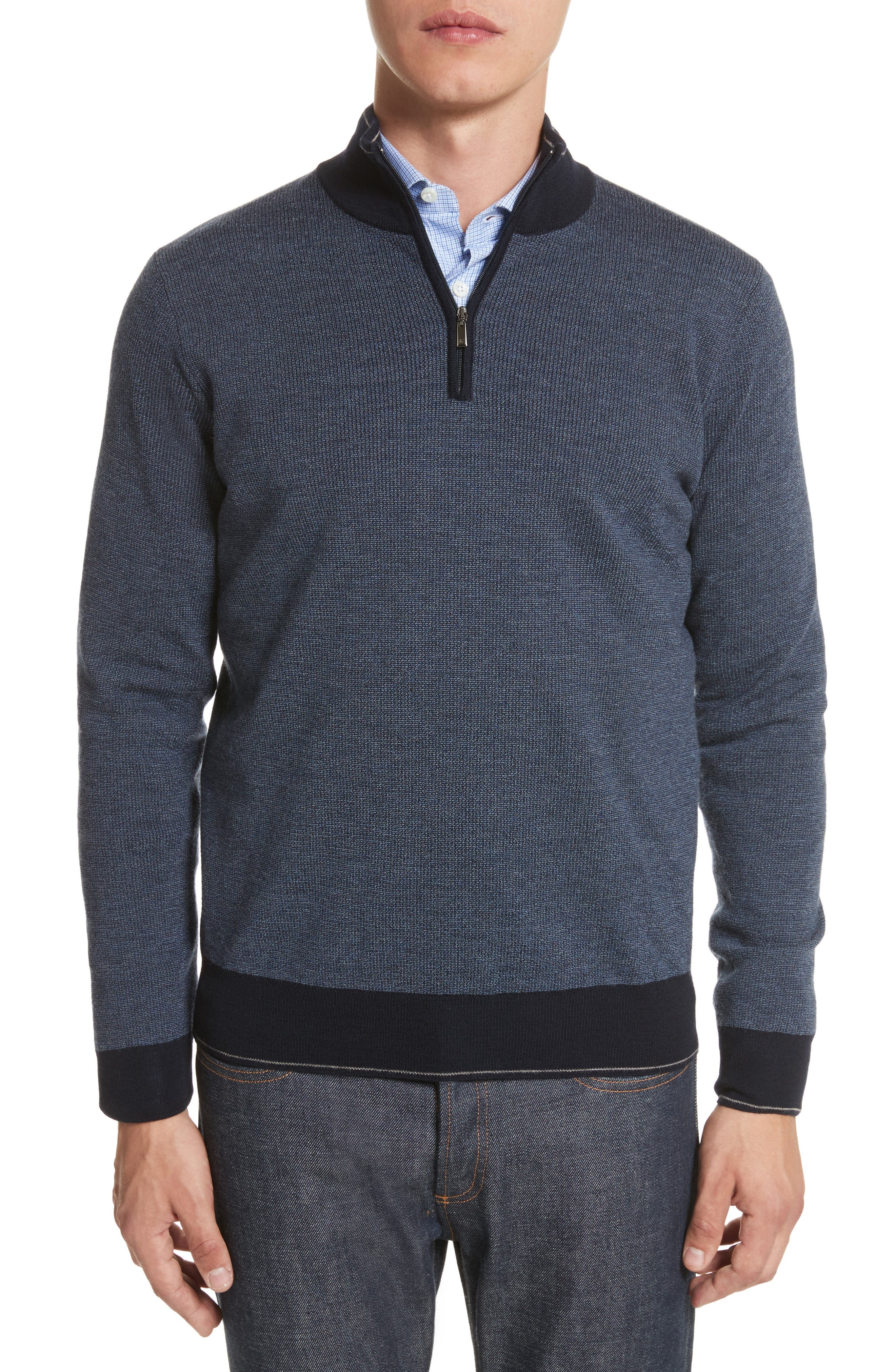 Quarter Zip Wool Sweater,                         Main,                         color, Dark Blue