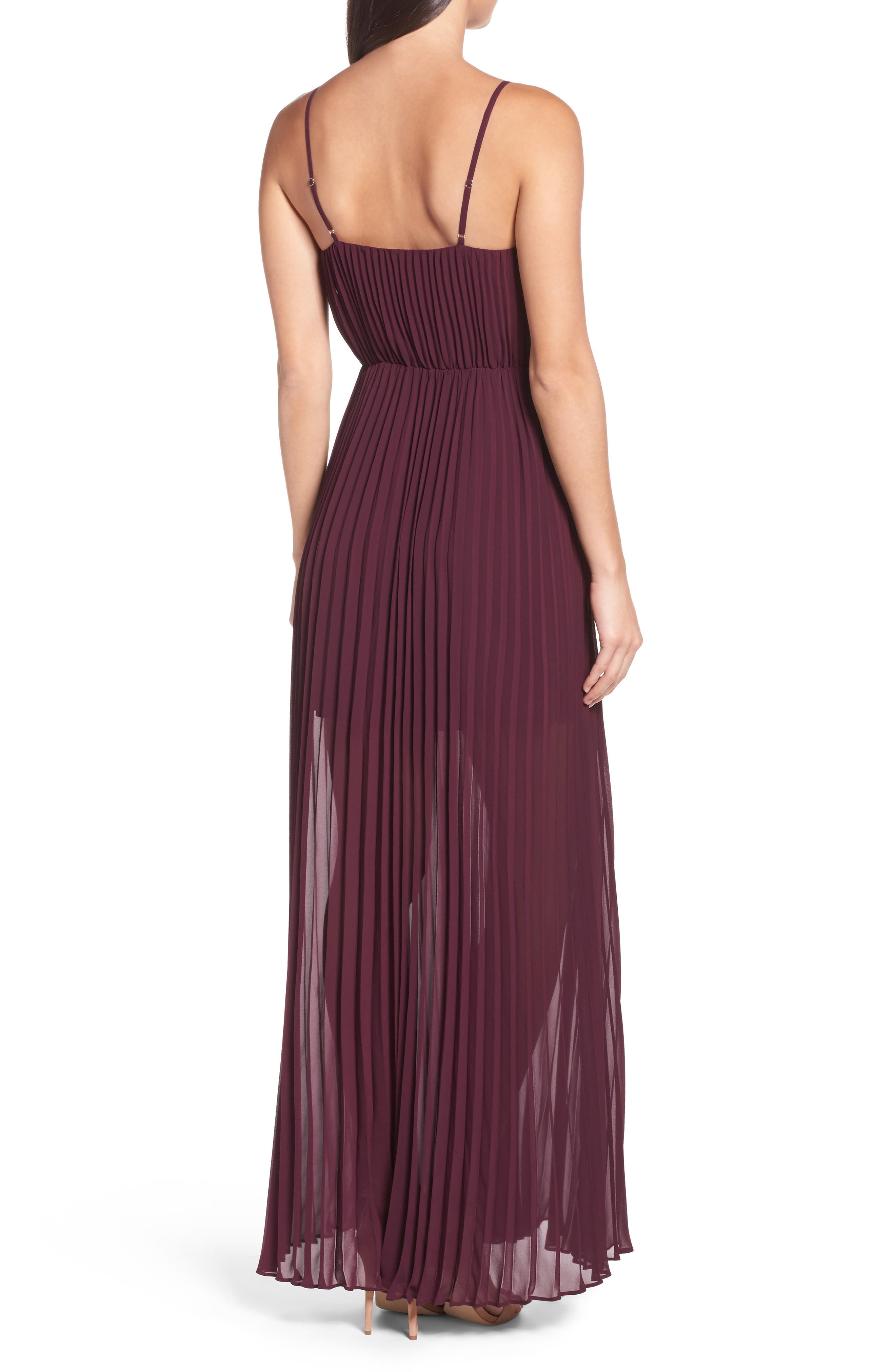 She Is A Regular Pleated Maxi Dress,                             Alternate thumbnail 2, color,                             Wine