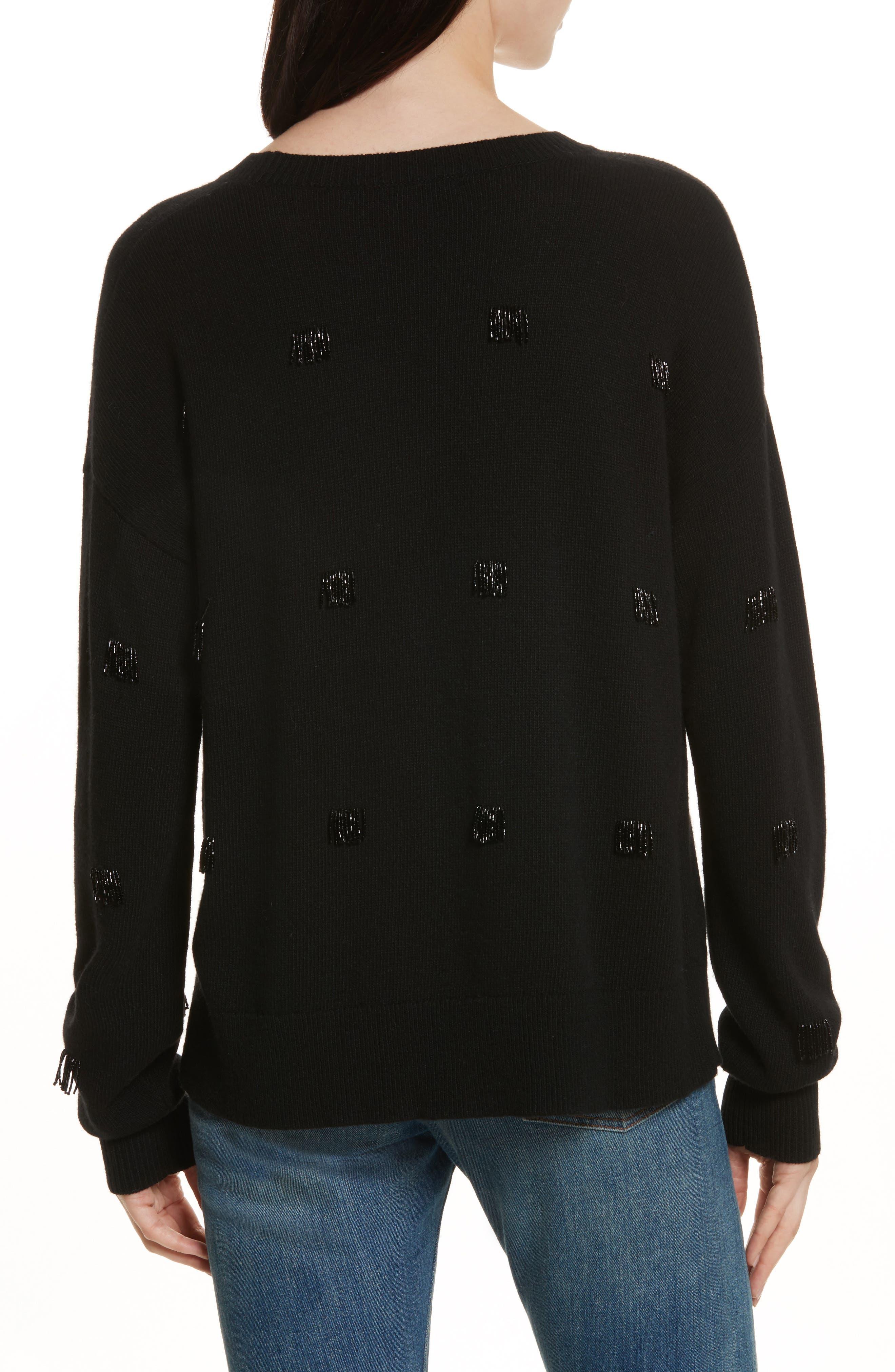 Fionn Beaded Fringe Sweater,                             Alternate thumbnail 2, color,                             Black