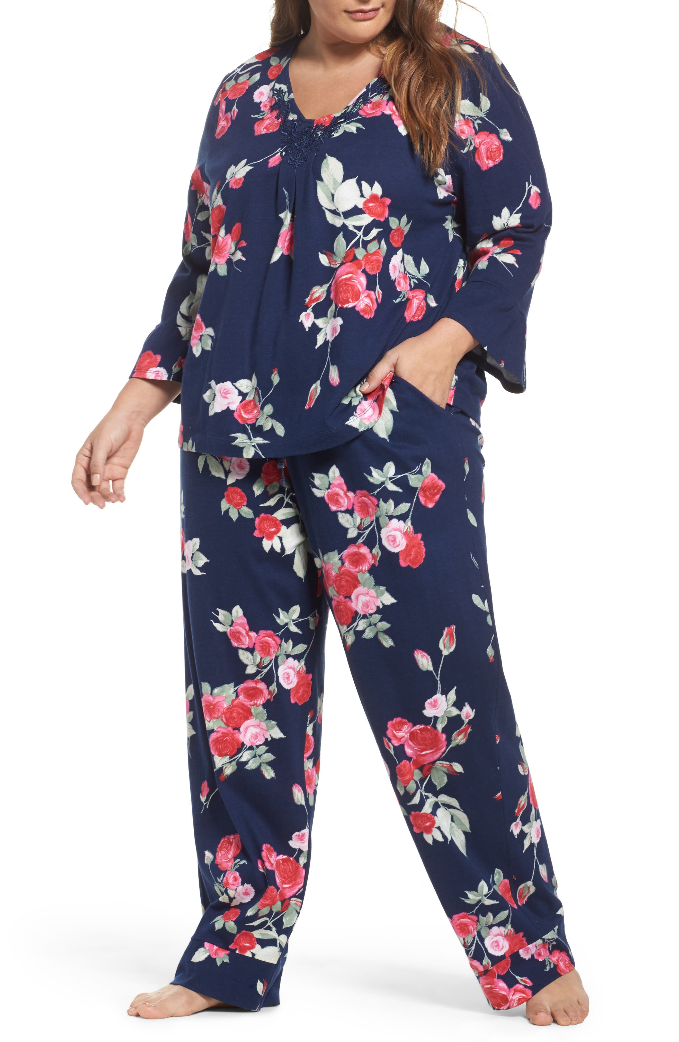 Alternate Image 1 Selected - Carole Hochman Floral Print Pajamas (Plus Size)